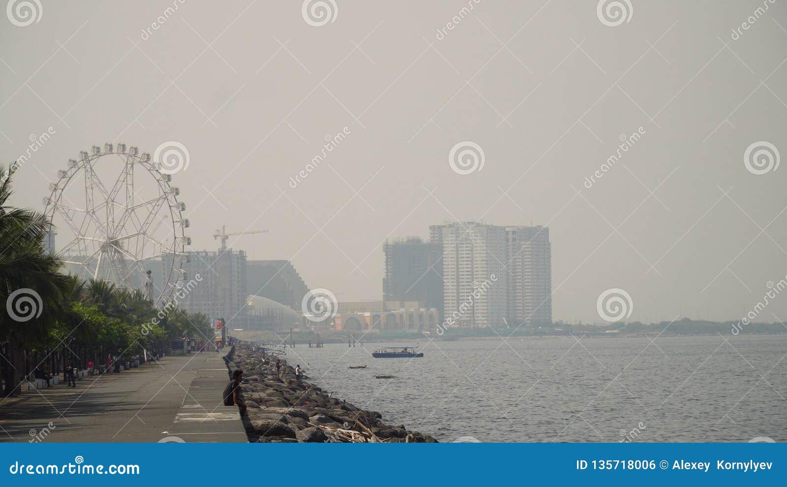 Cidade com arranha-céus e construções Filipinas, Manila, Makati