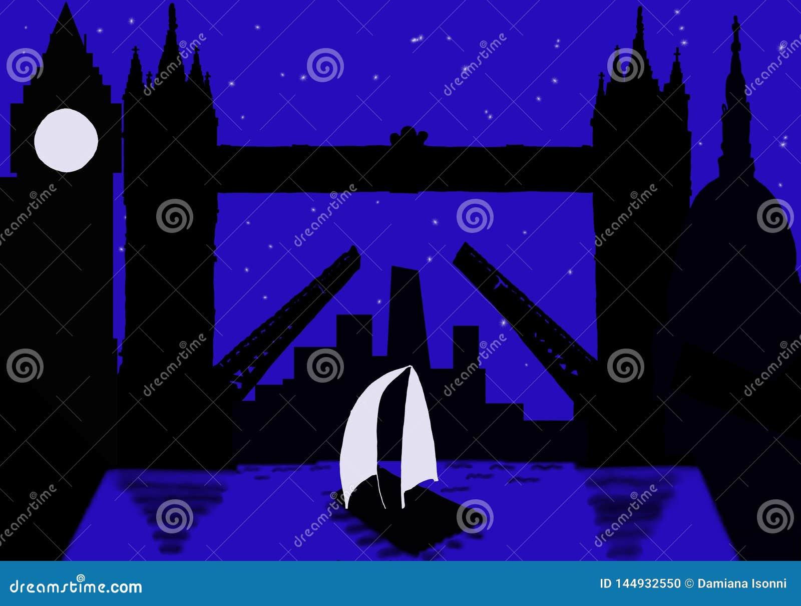 Cidade da silhueta de Londres na noite