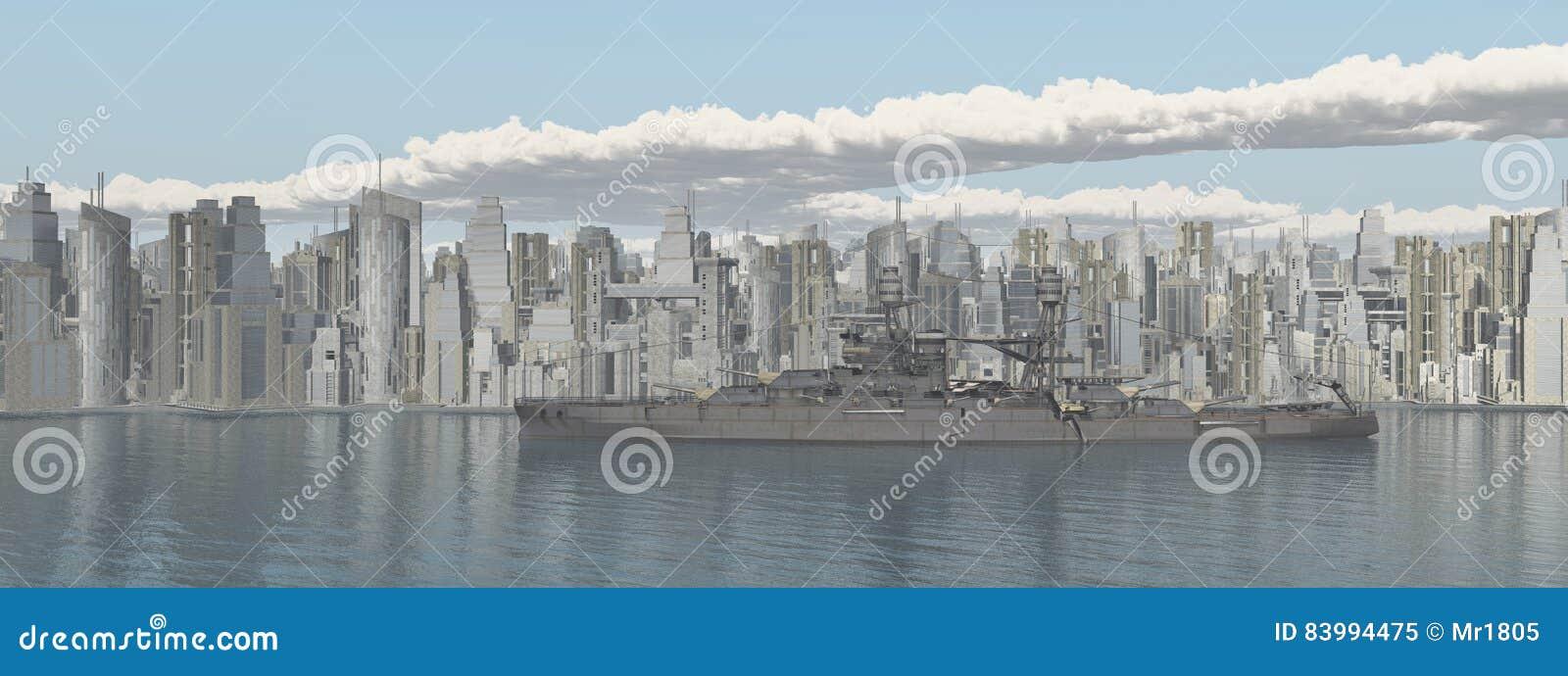 Cidade de beira-mar e navio de guerra americano da segunda guerra mundial