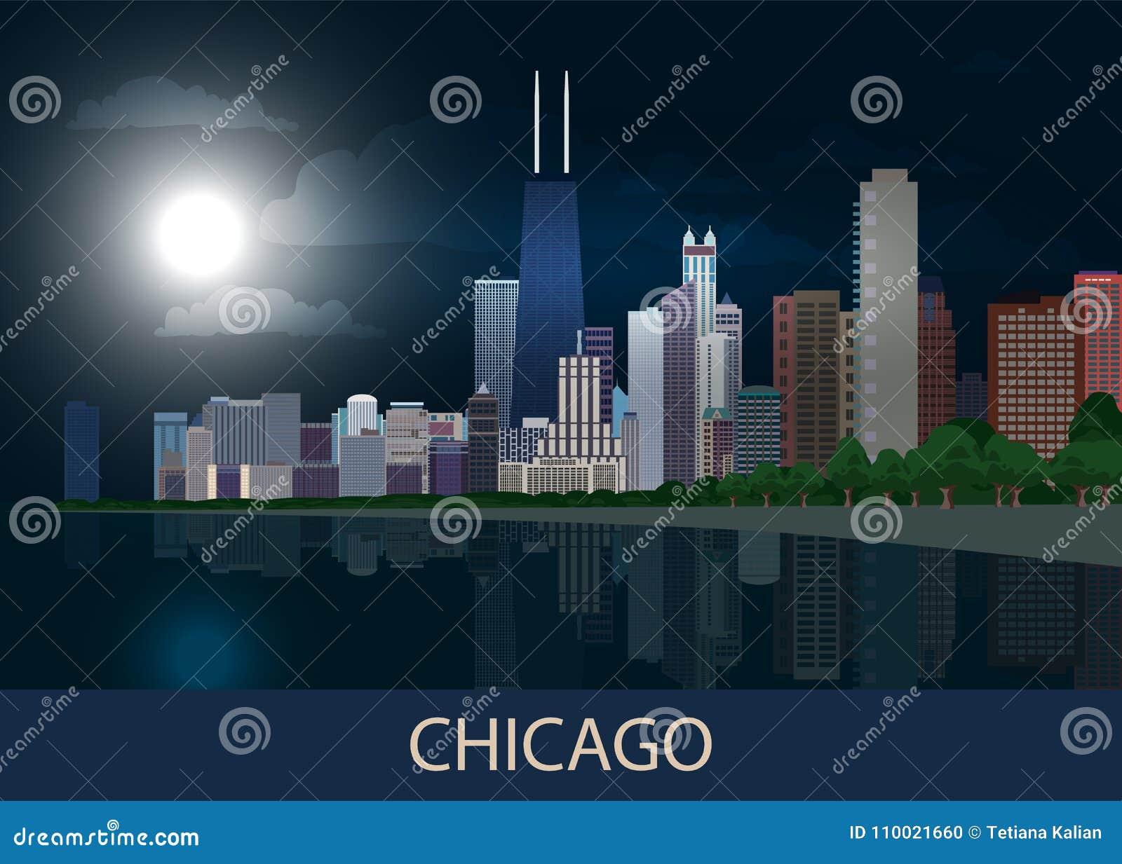 Cidade de Chicago do panorama da noite do centro com arranha-céus, Lago Michigan, as árvores verdes e a Lua cheia na obscuridade