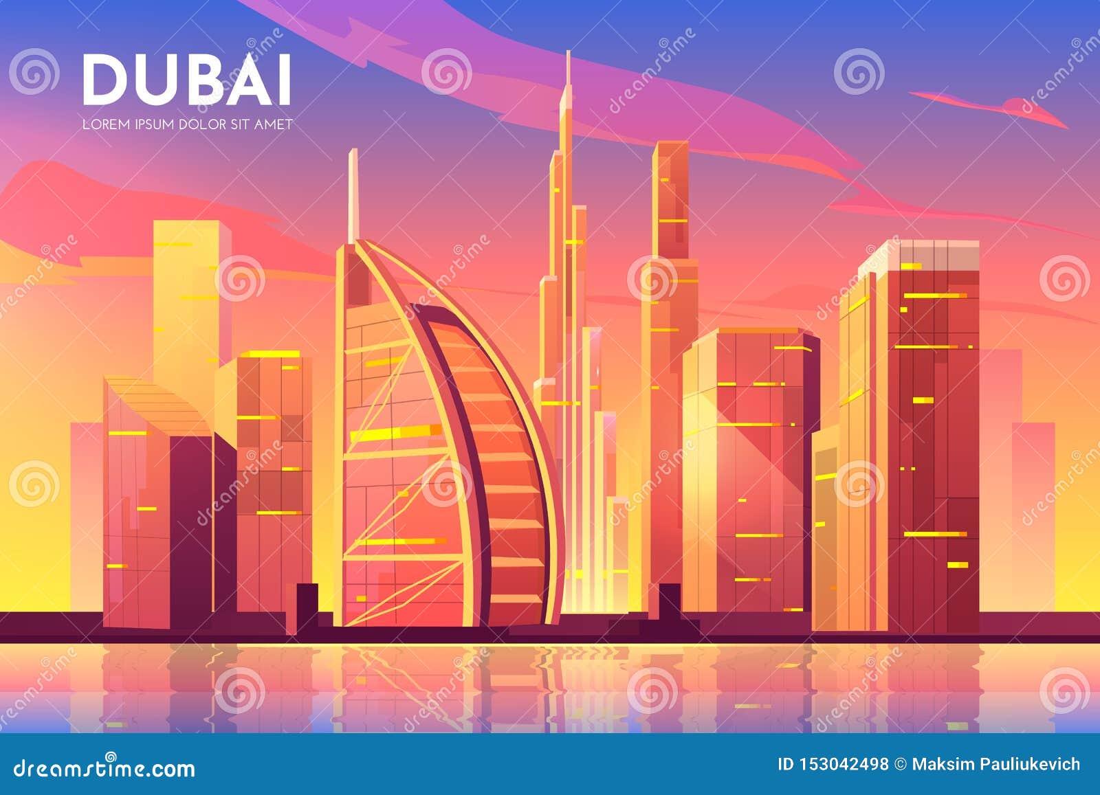Cidade de Dubai, UAE Arquitetura da cidade de Emiratos Árabes Unidos