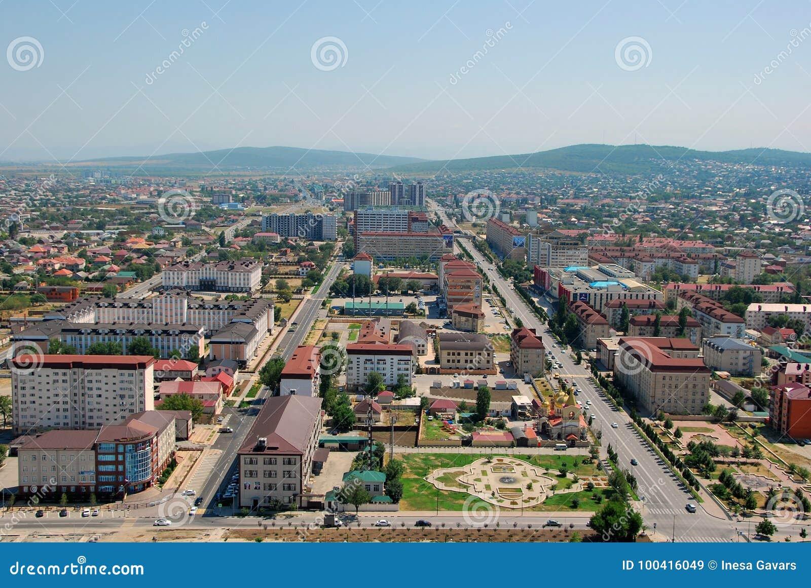 A cidade de Grozny A vista da parte superior