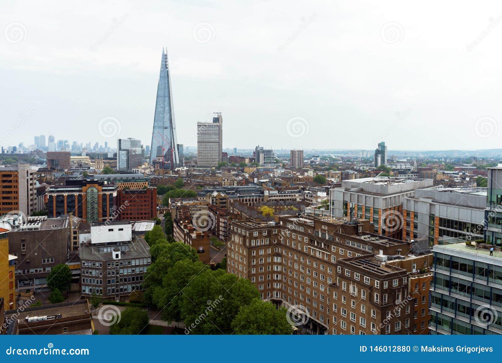 Cidade de Londres, Reino Unido, o 24 de maio de 2018 Vista da parte superior