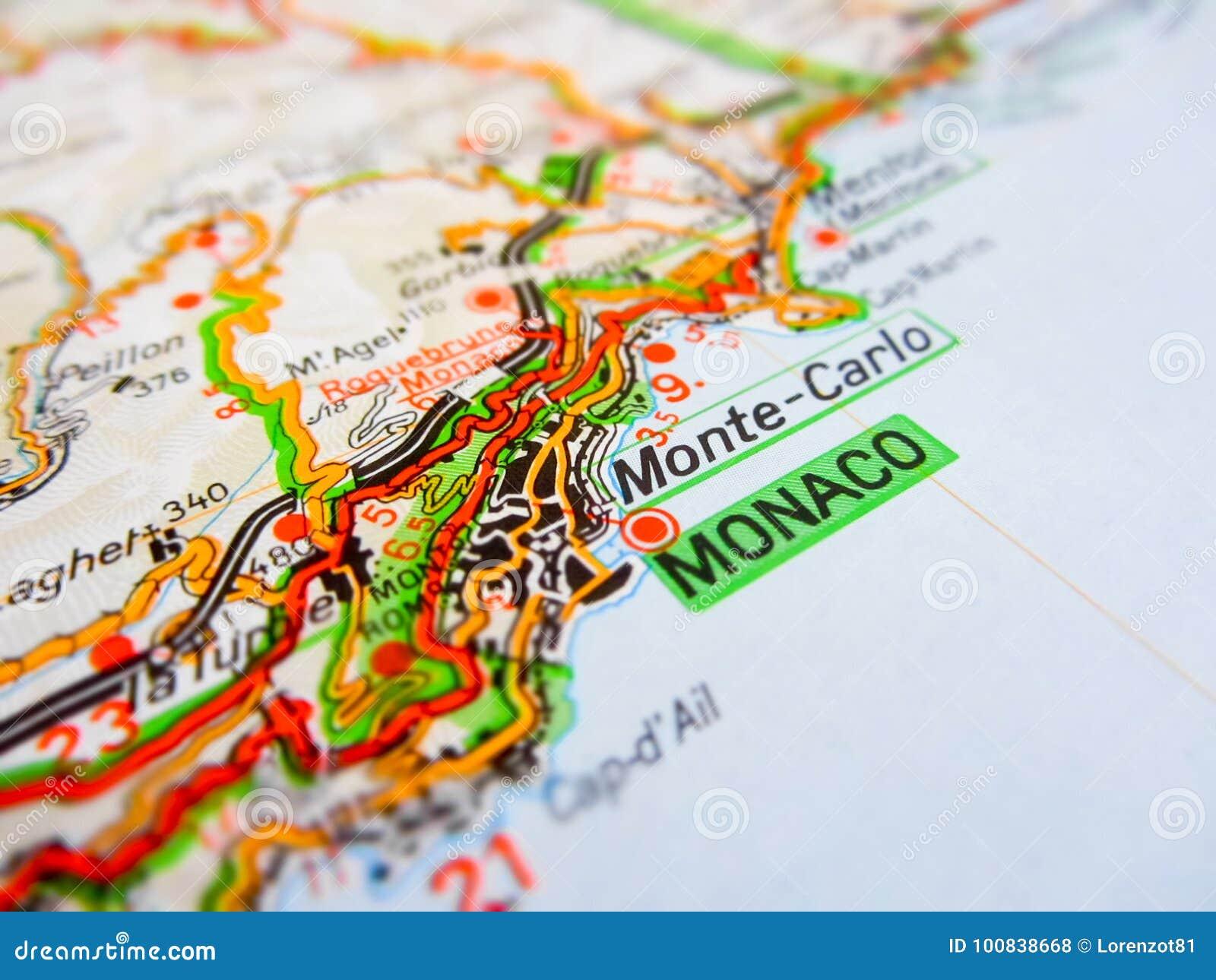 Cidade De Monaco Sobre Um Mapa De Estradas Italia Foto De Stock