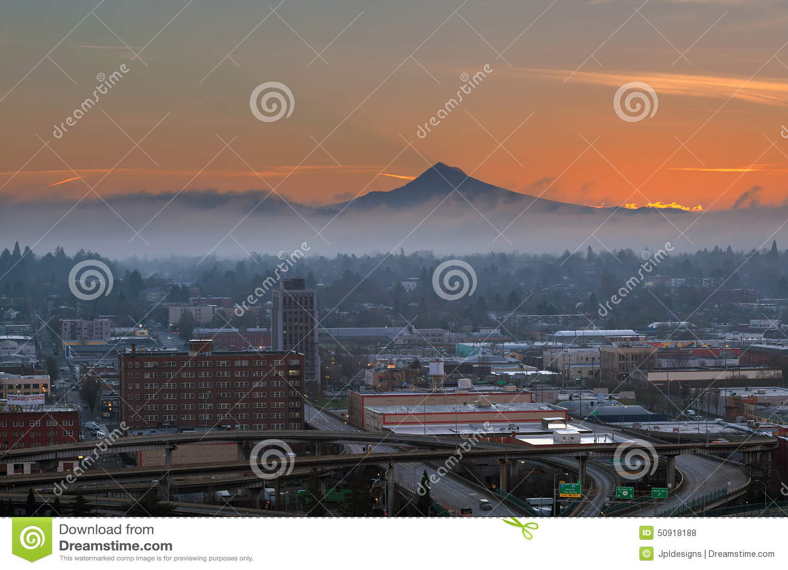 Cidade de Portland Eastside no nascer do sol