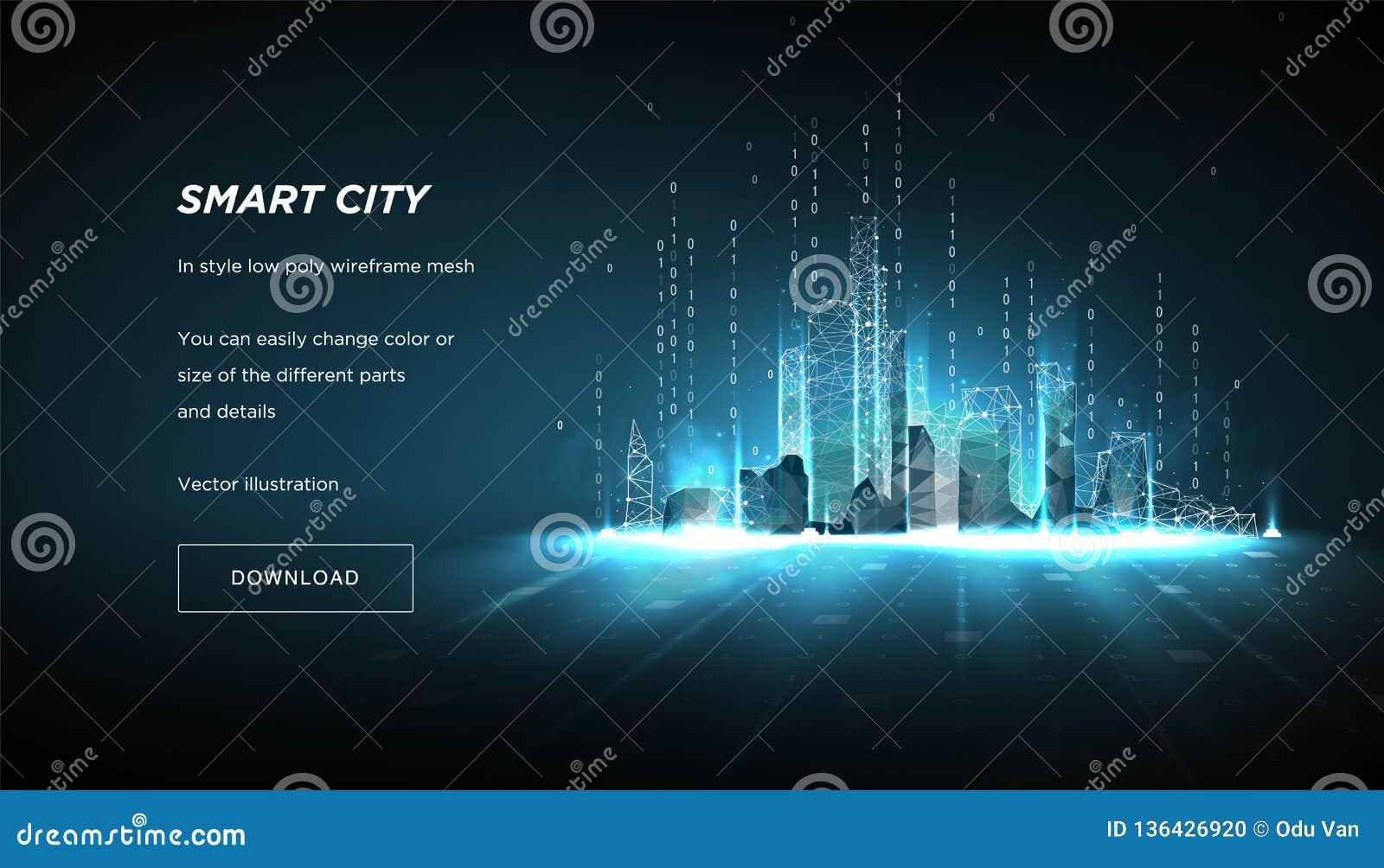 Cidade do baixo wireframe poli do sumário Conceito do código binário do fluxo esperto do cityand Linhas e pontos do plexo na cons