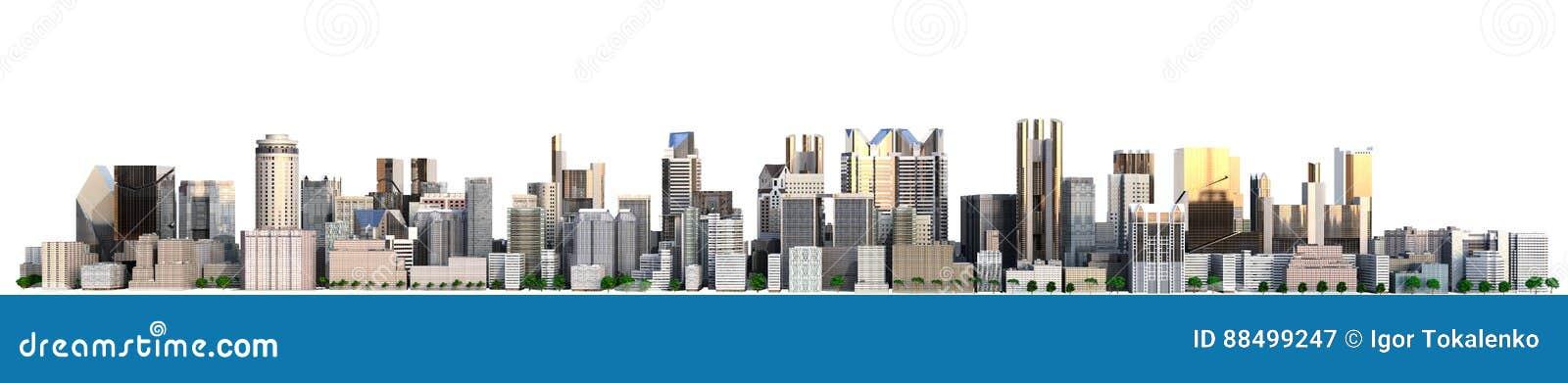 Cidade do dia com imagem da rendição da reflexão 3d no branco