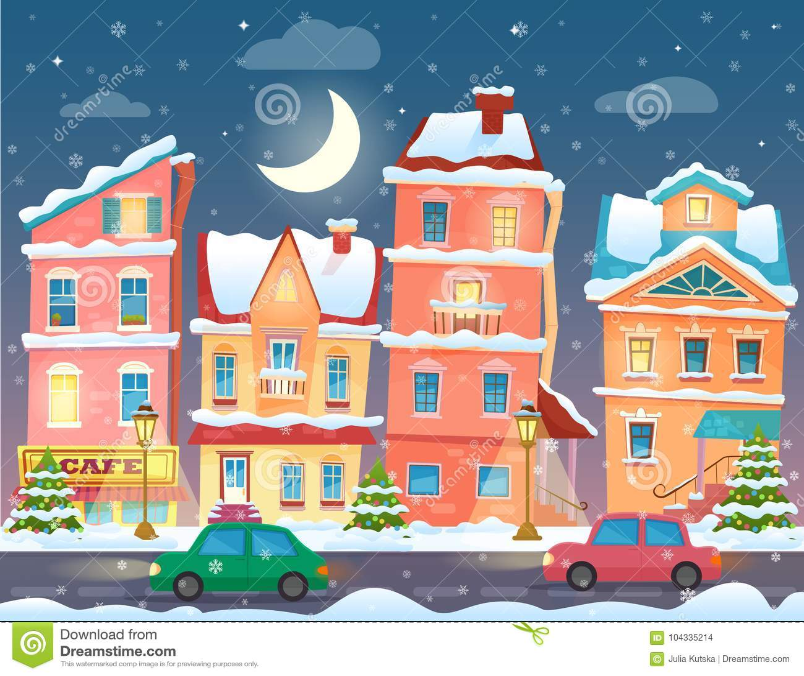 Cidade Do Inverno Dos Desenhos Animados Do Natal Na Noite