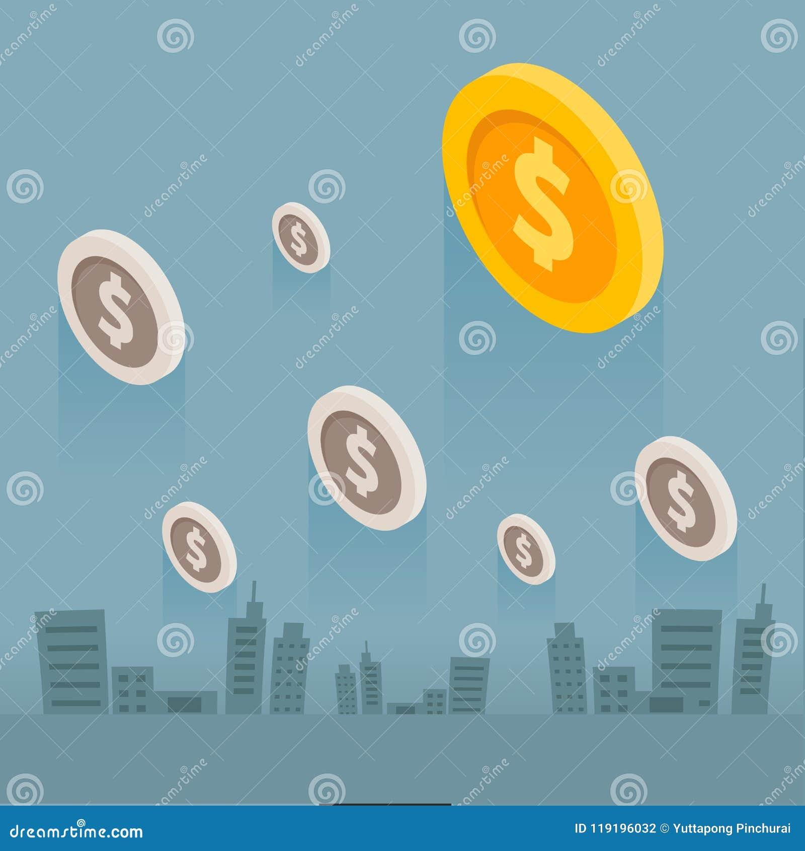 Cidade do negócio de dinheiro da moeda no fundo cinzento