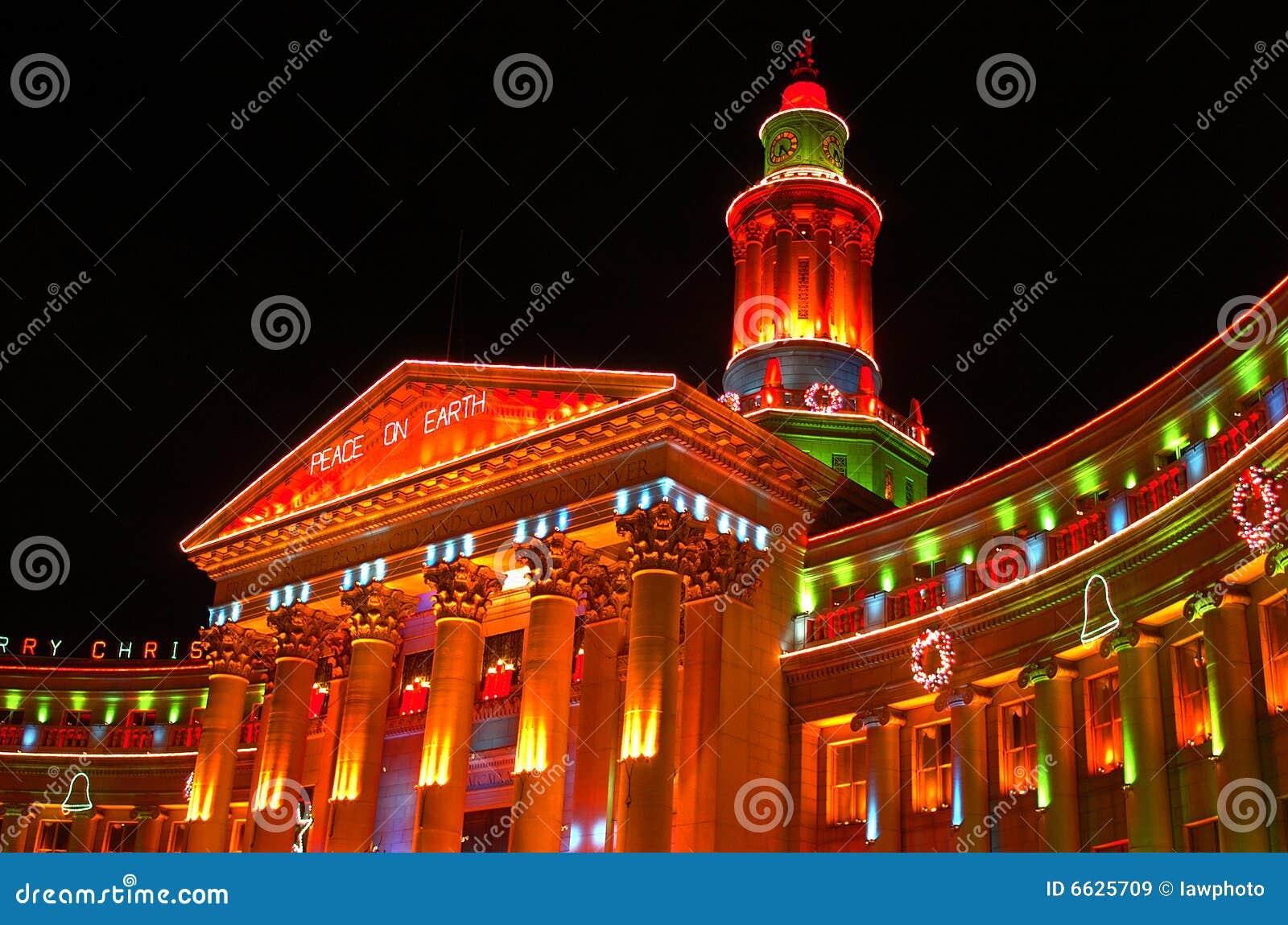Cidade e condado de luzes do feriado do edifício de Denver