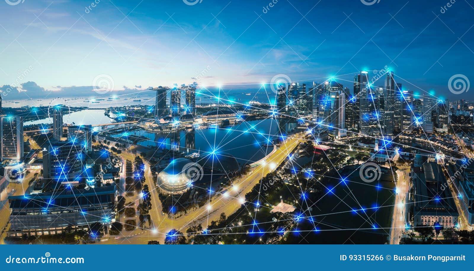 Cidade e Internet espertos das coisas, rede de comunicação sem fio