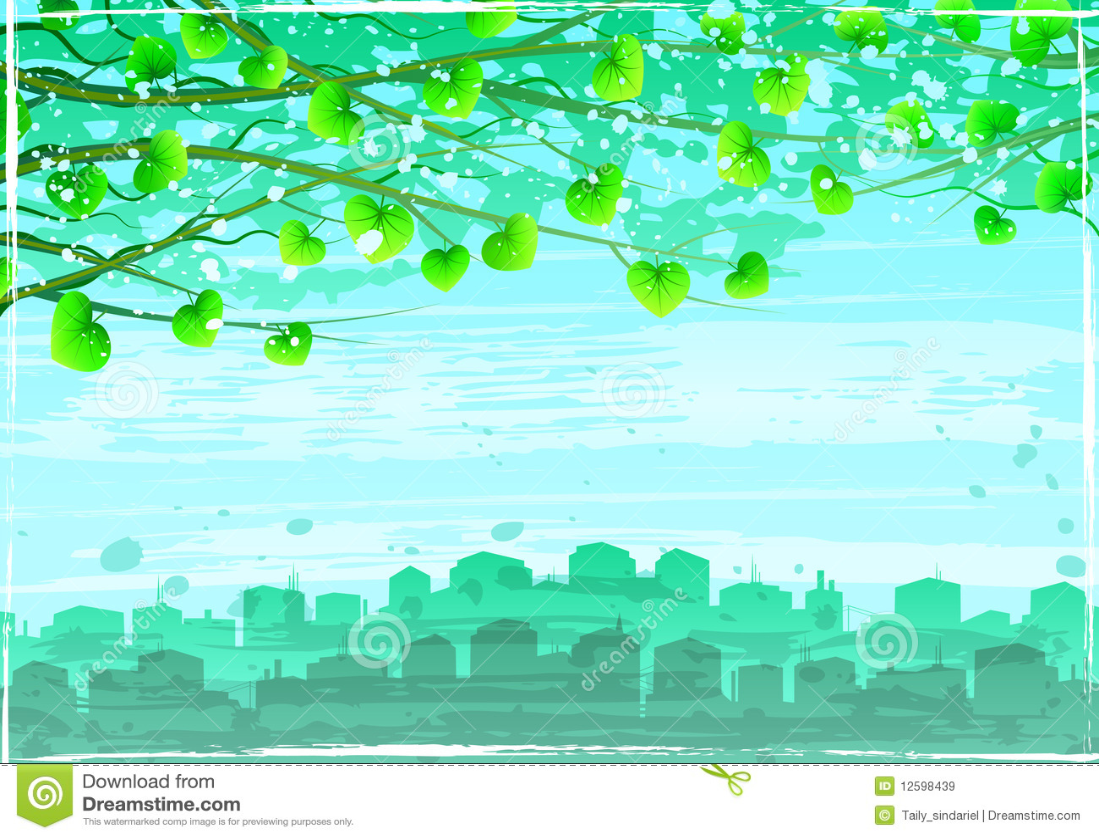 Cidade ecológica verde de Grunge sob filiais de árvore