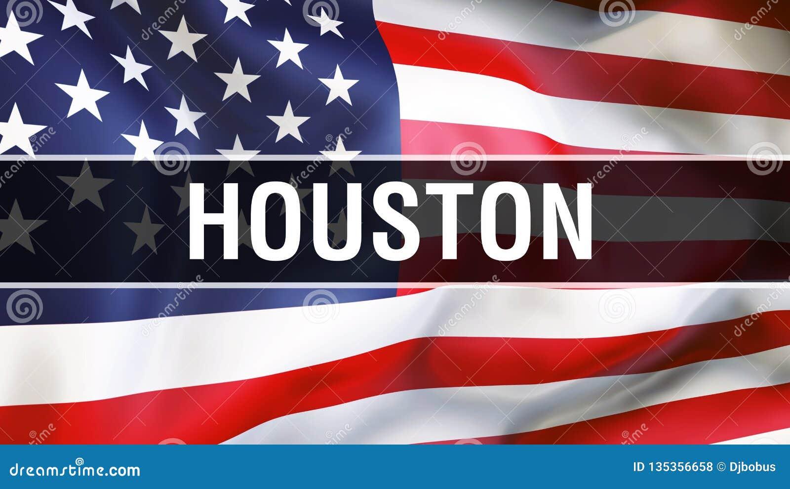 Cidade em um fundo da bandeira dos EUA, de Houston rendição 3D Bandeira de Estados Unidos da América que acena no vento Ondulação
