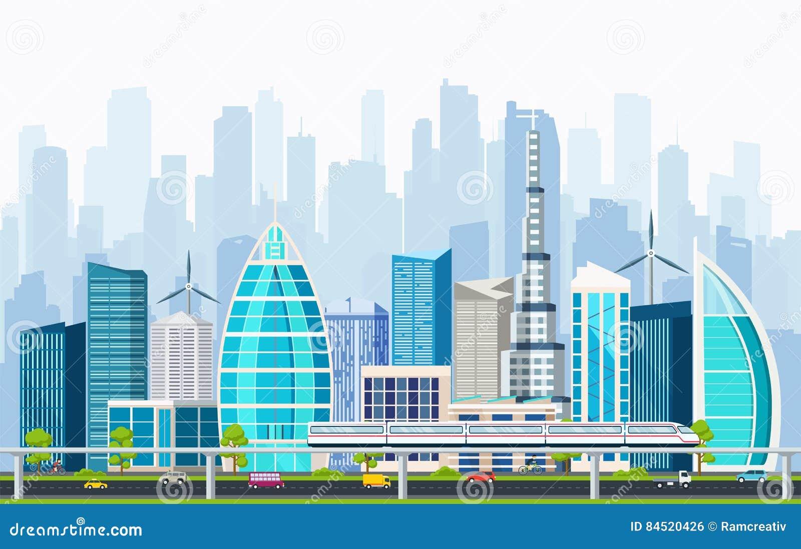 A cidade esperta com grandes construções modernas e o transporte intercambiam-se