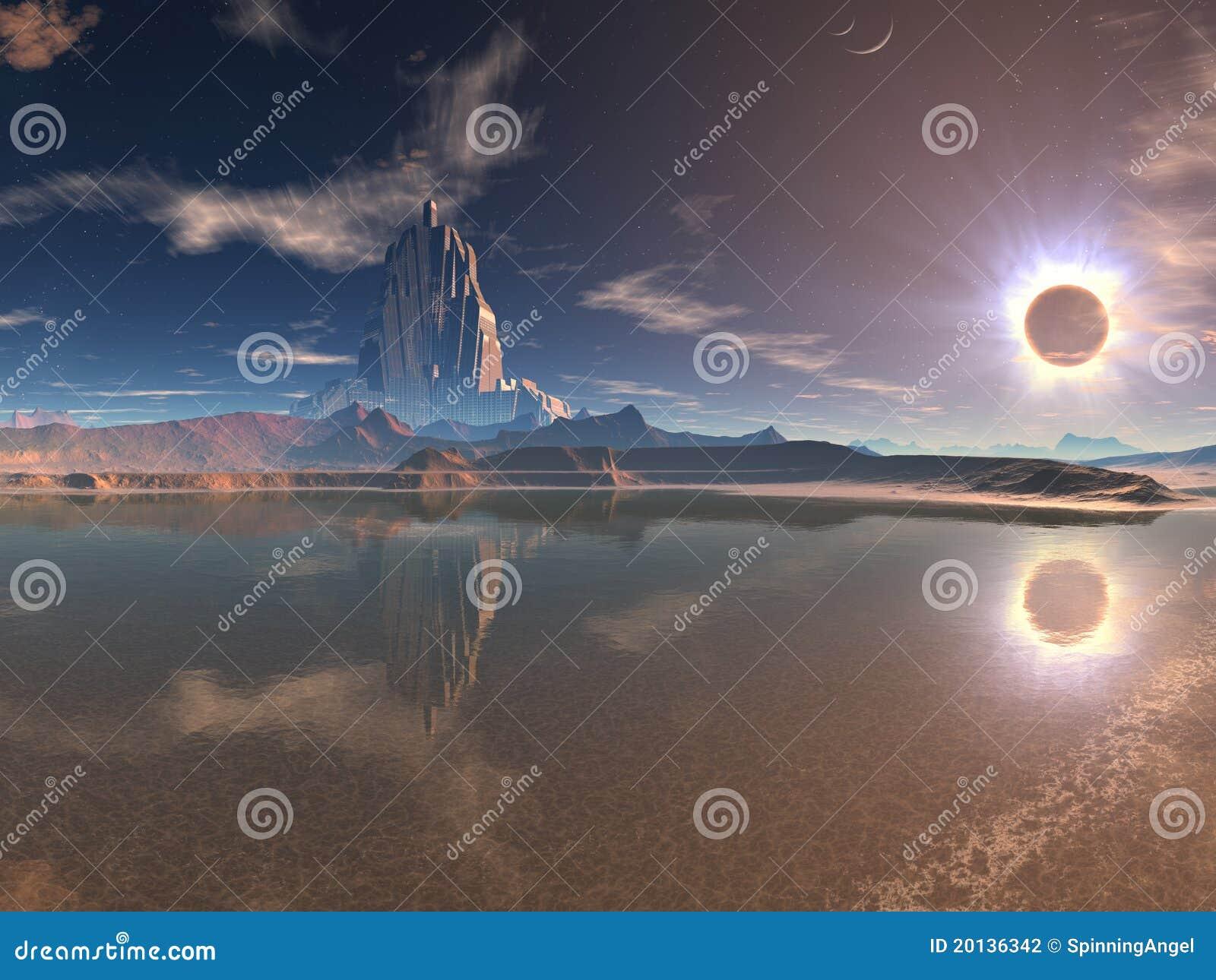 Cidade estrangeira distante no eclipse lunar