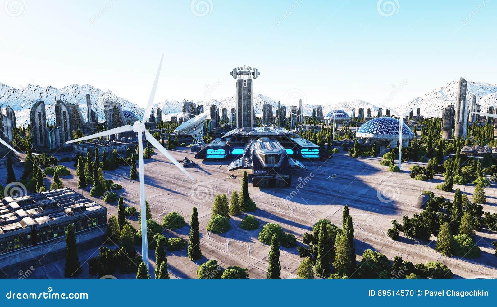 Cidade futurista, cidade Arquitetura do futuro Silhueta do homem de negócio Cowering rendição 3d