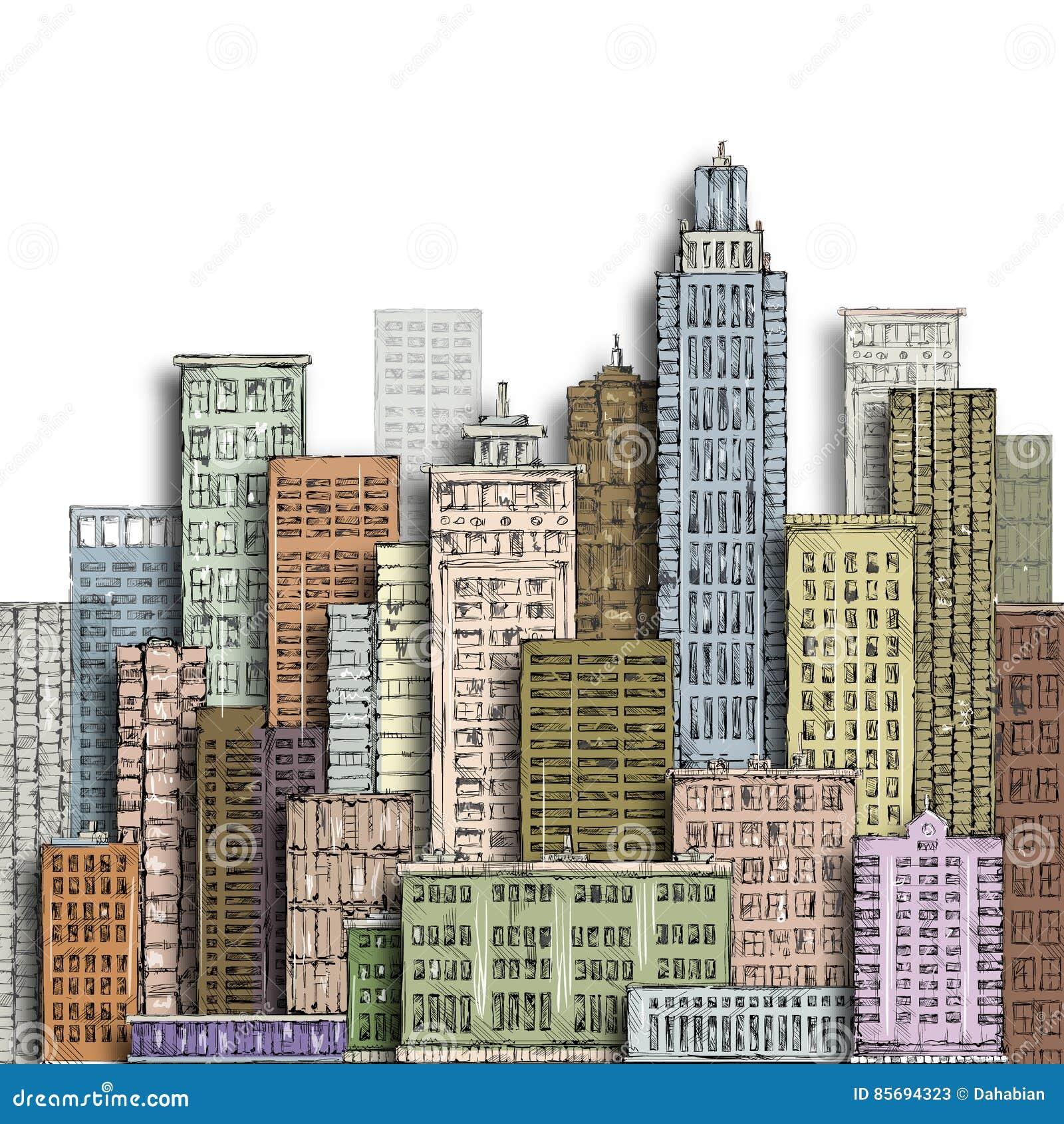 Cidade grande tirada mão Ilustração com arquitetura, arranha-céus do vintage, megapolis, construções, do centro