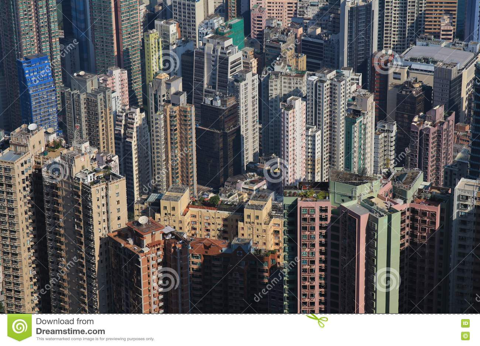 Cidade povoada densa Hong Kong