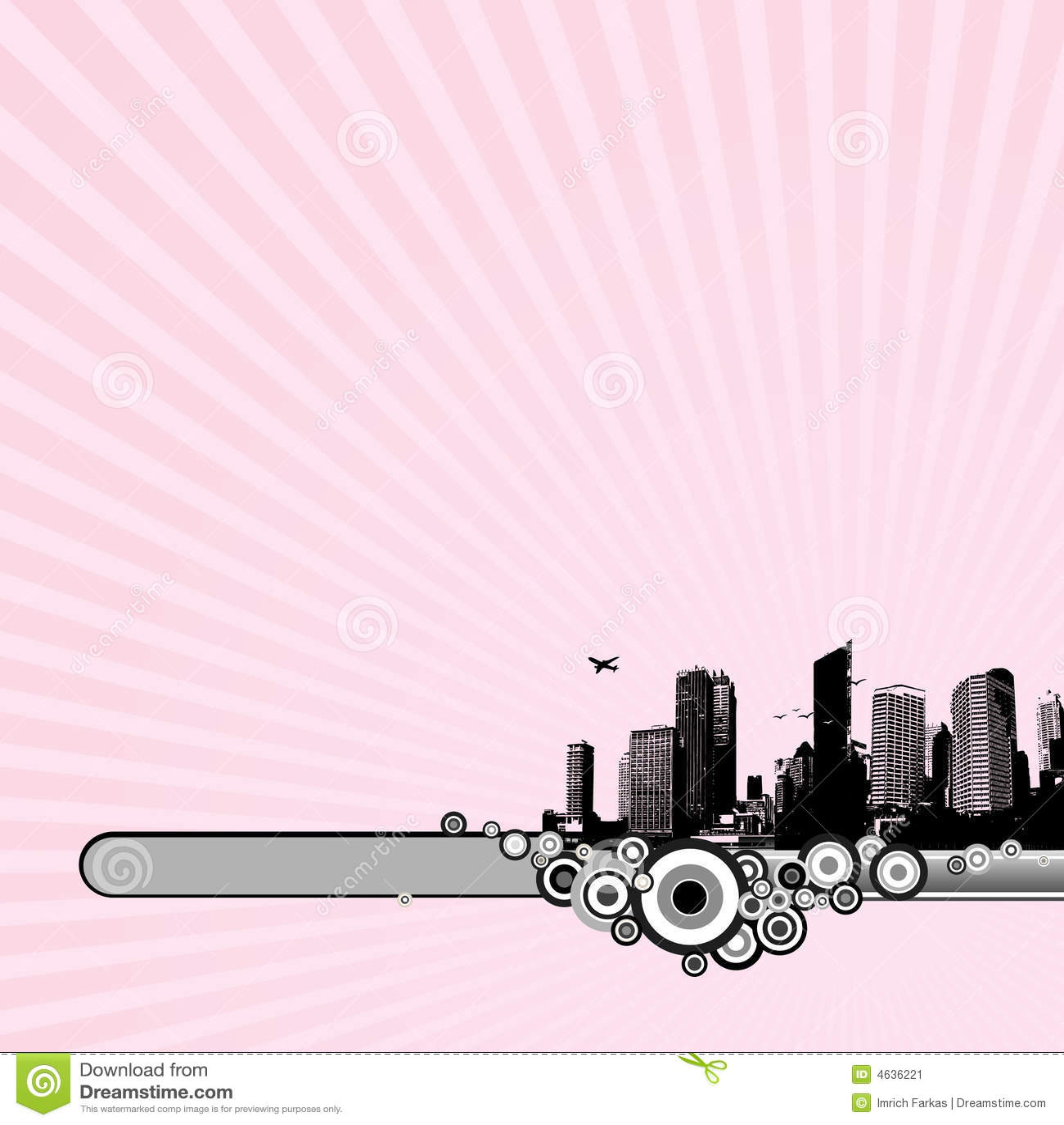 Cidade preta no fundo cor-de-rosa.