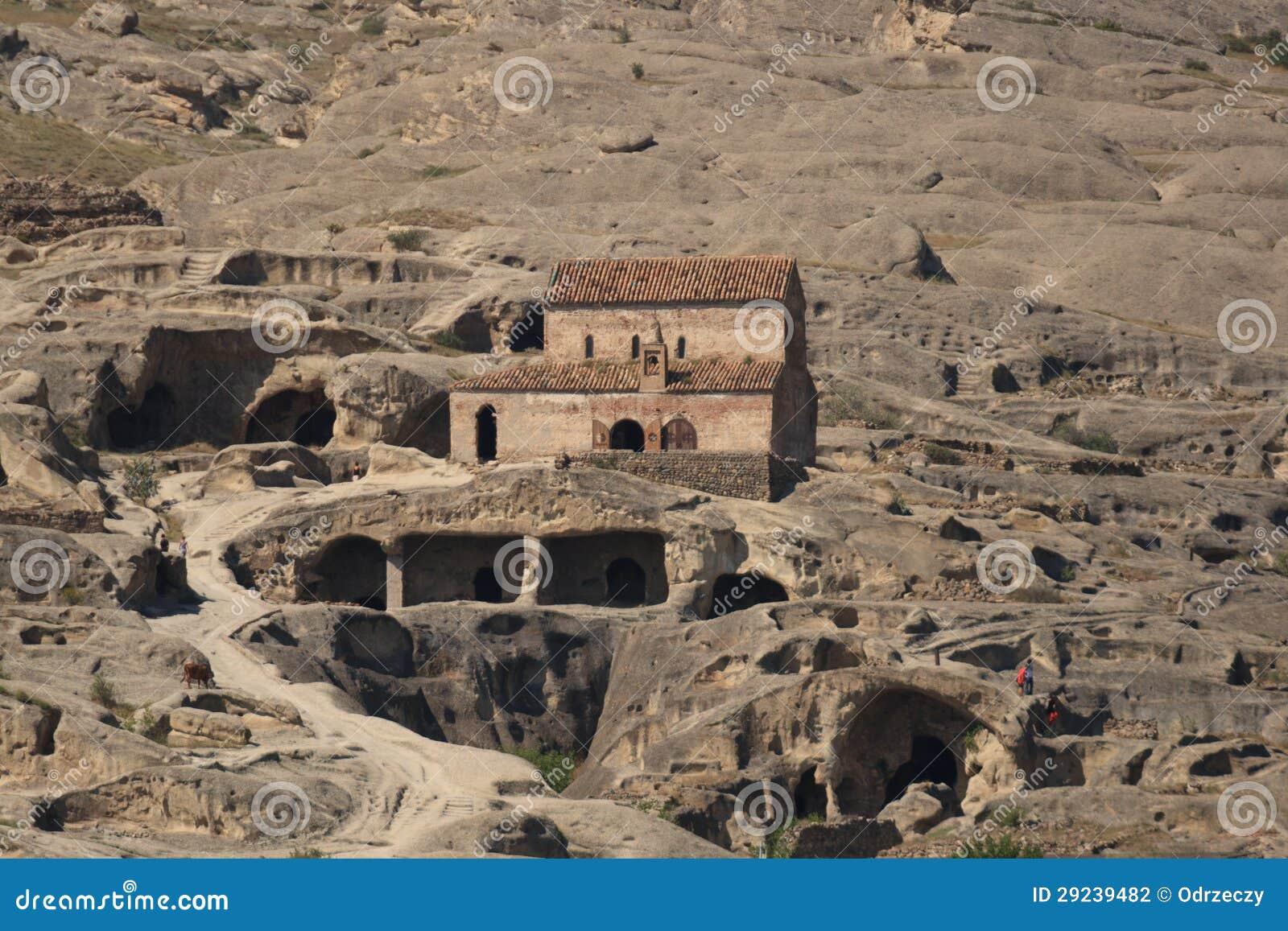 Download Cidade Uplistsikhe Da Caverna Foto de Stock - Imagem de furo, chapel: 29239482