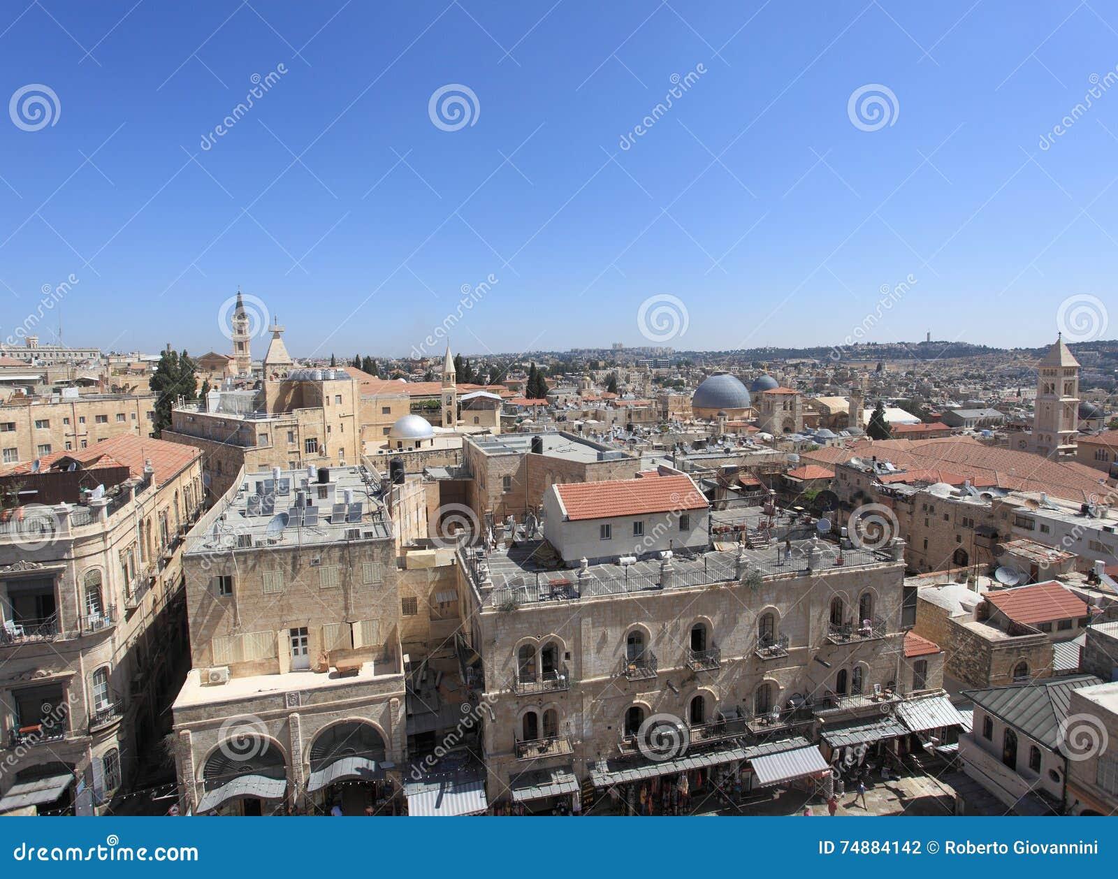 Cidade velha do panorama do Jerusalém - norte