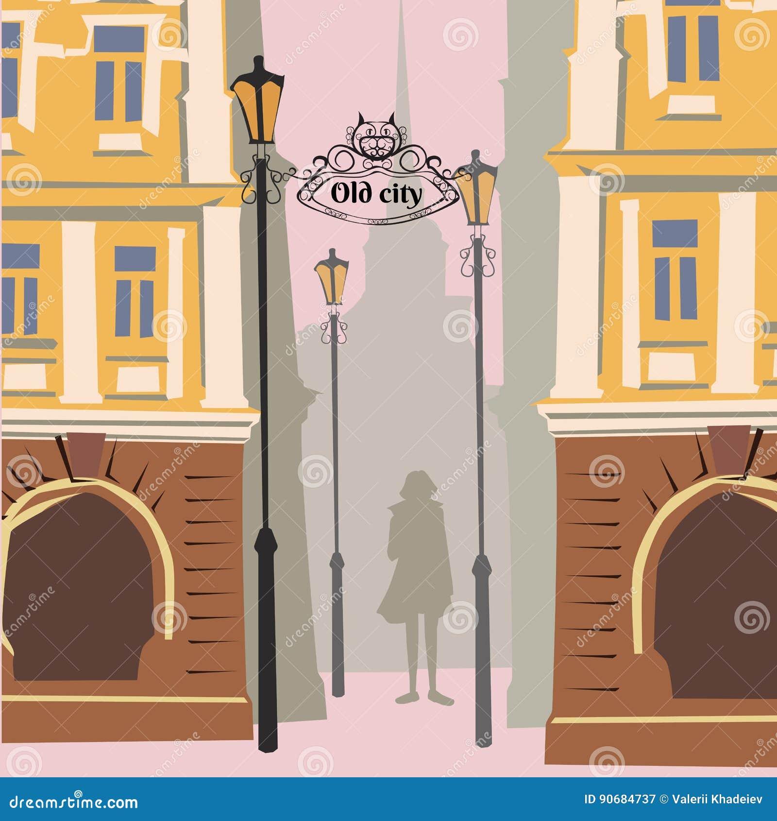 Cidade velha dos desenhos animados, humor do outono, menina, queda