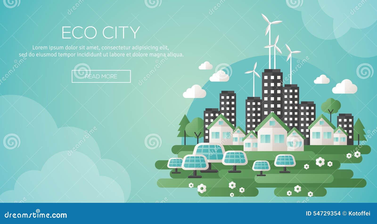 Cidade verde do eco e bandeira sustentável da arquitetura