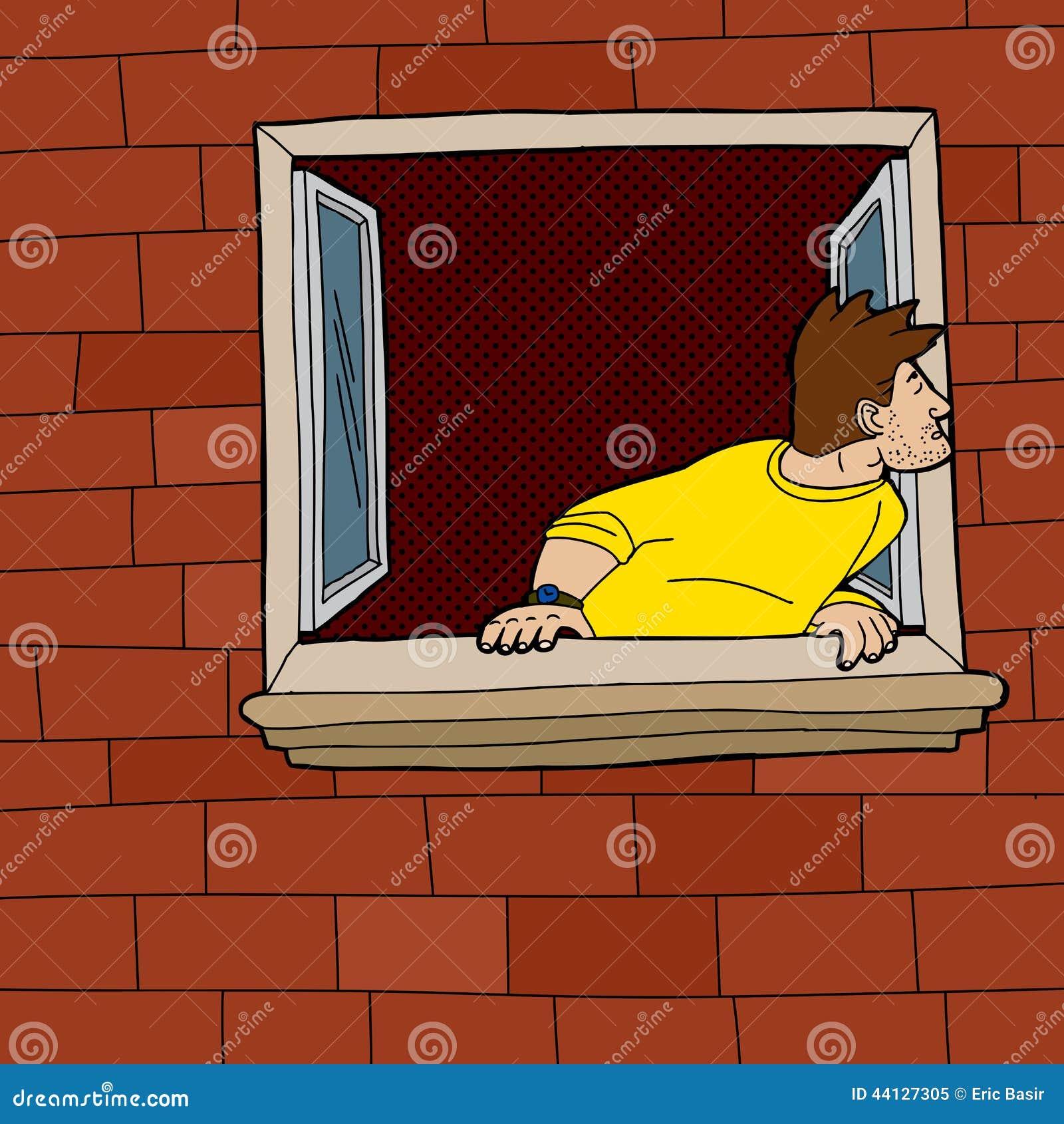 Ciekawego mężczyzna Przyglądający Outside