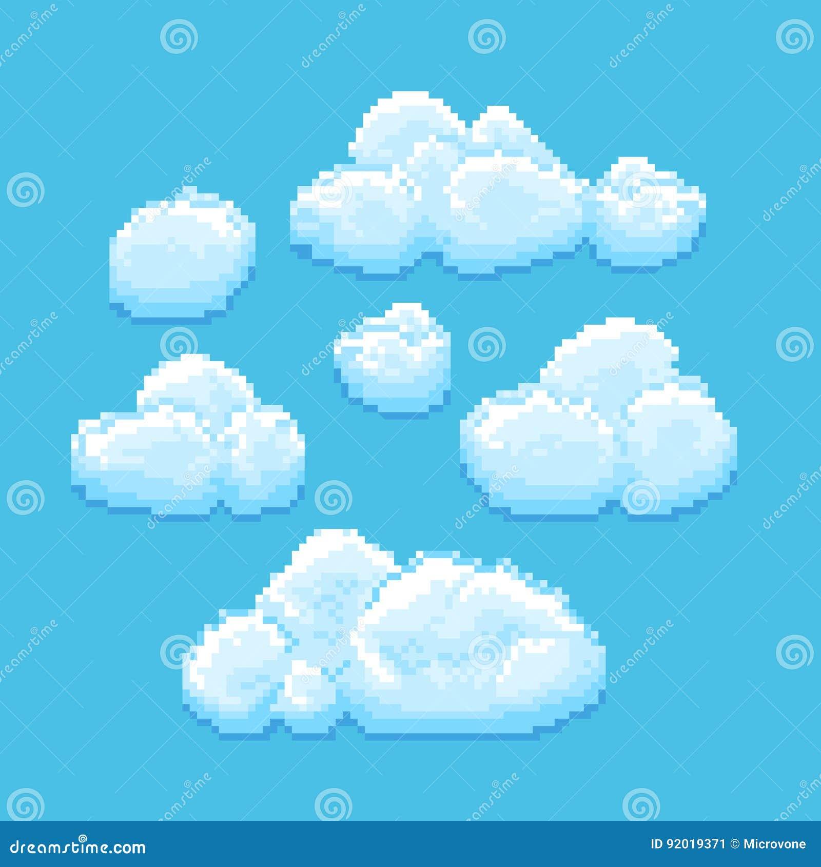 Ciel Avec Lart De Pixel De Vecteur De Nuages Fond De