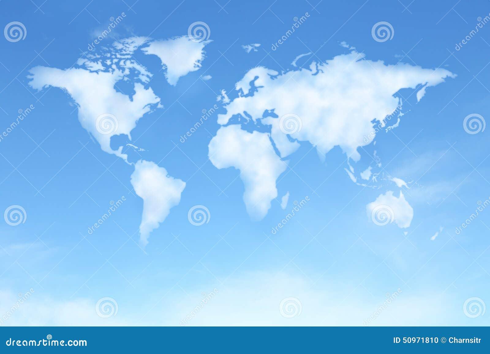 Ciel bleu clair avec la carte du monde dans la forme de nuage illustration st - Image ciel bleu clair ...