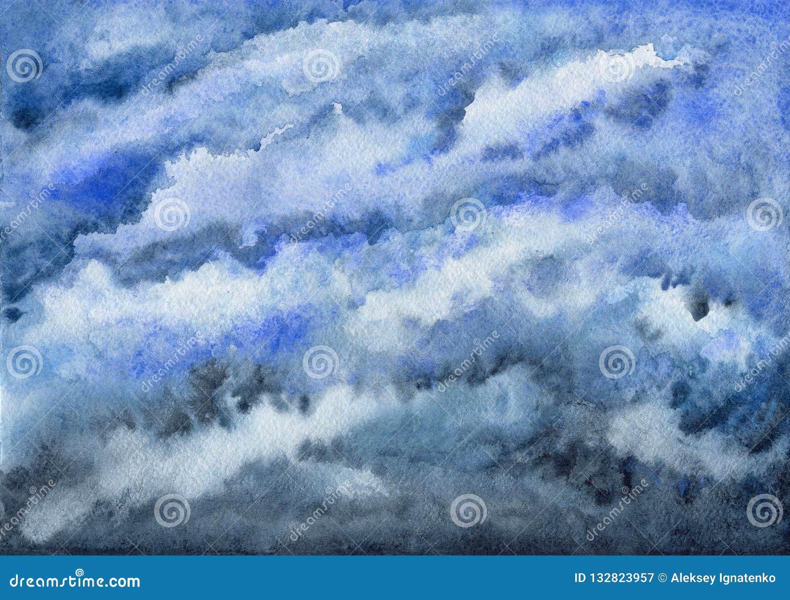 Ciel Bleu Nuageux Ciel Peinture D Aquarelle Illustration Stock Illustration Du Nuageux Aquarelle 132823957