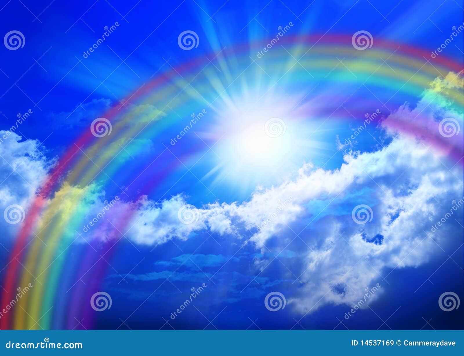 Ciel d 39 arc en ciel image stock image du arc sunbeams - Image arc en ciel gratuite ...