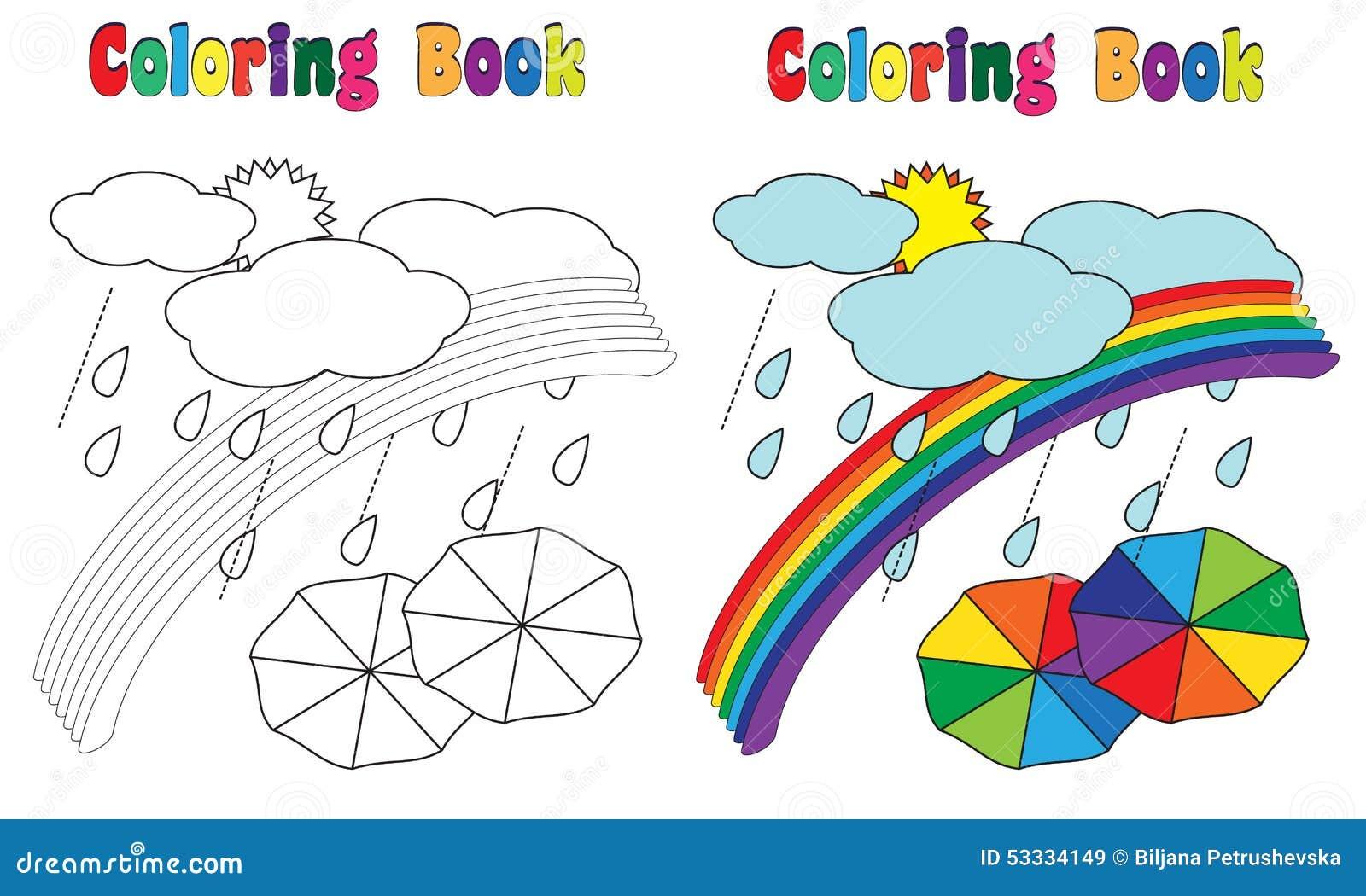 Coloriage Darc En Ciel En Ligne.Ciel D Arc En Ciel De Livre De Coloriage Illustration De