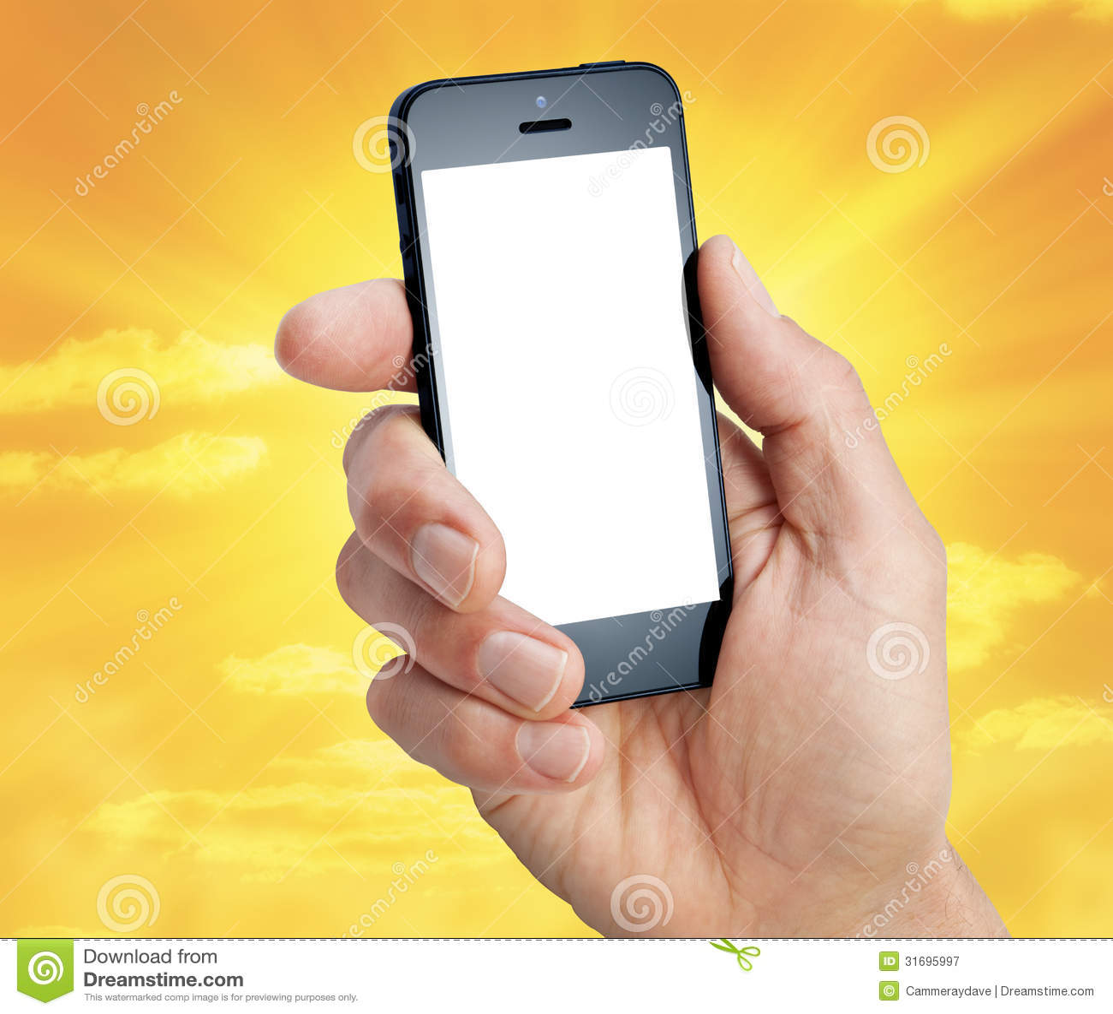 Ciel de main de téléphone portable