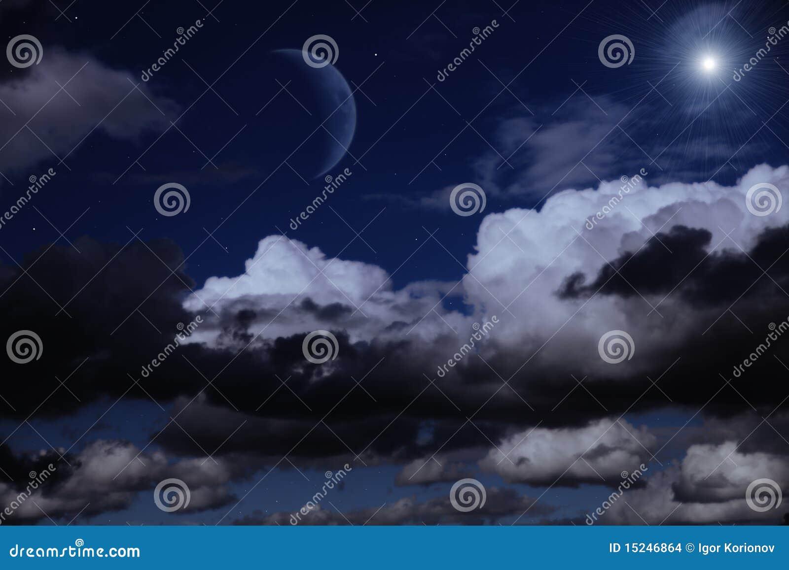 ciel de nuit avec la lune les nuages et les toiles images stock image 15246864. Black Bedroom Furniture Sets. Home Design Ideas