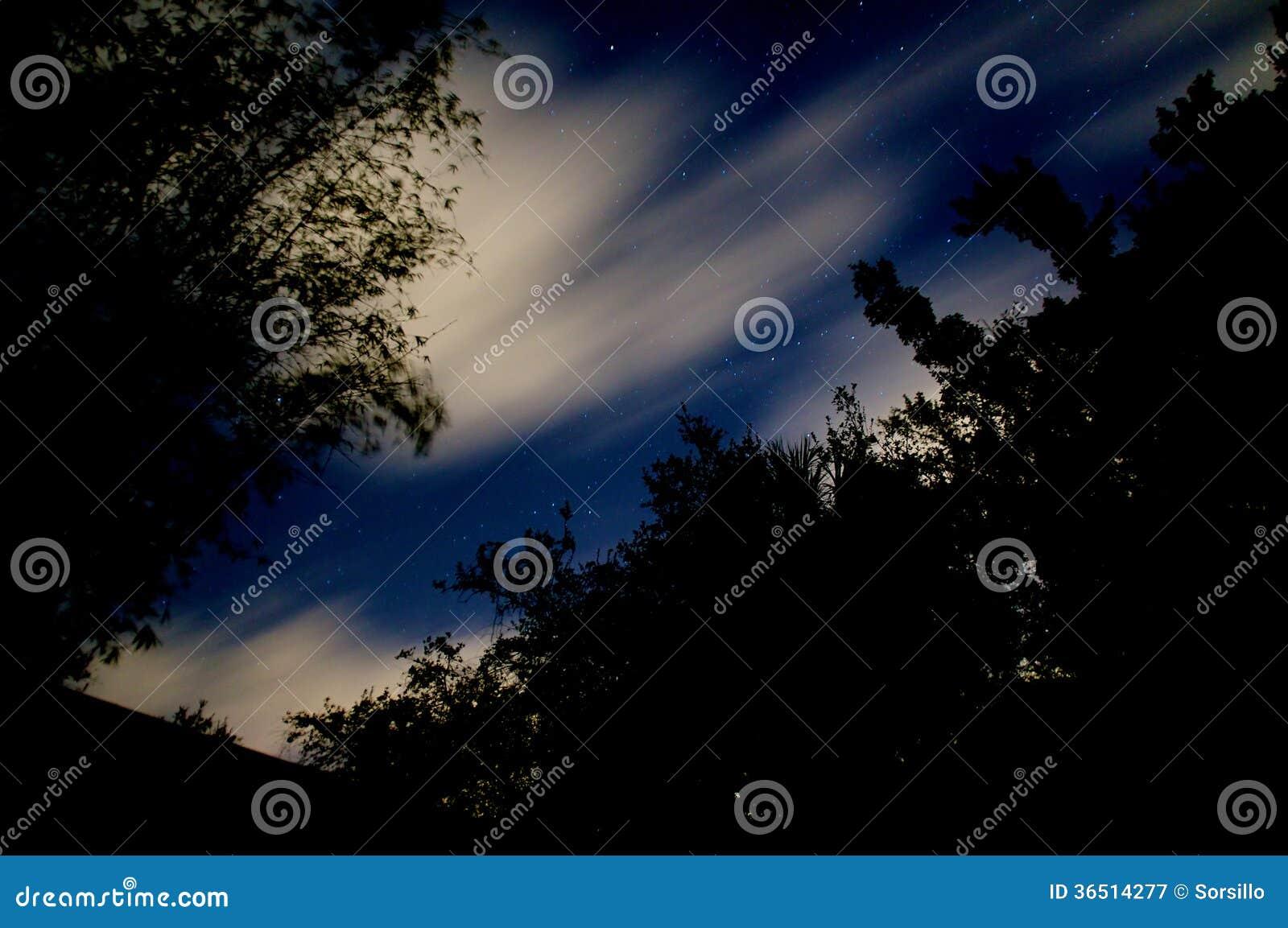 Ciel nocturne avec des nuages et des étoiles