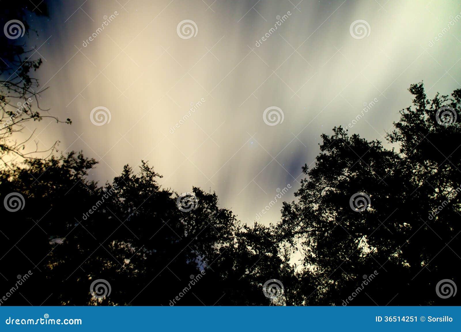 Ciel nocturne rougeoyant avec des nuages et des étoiles