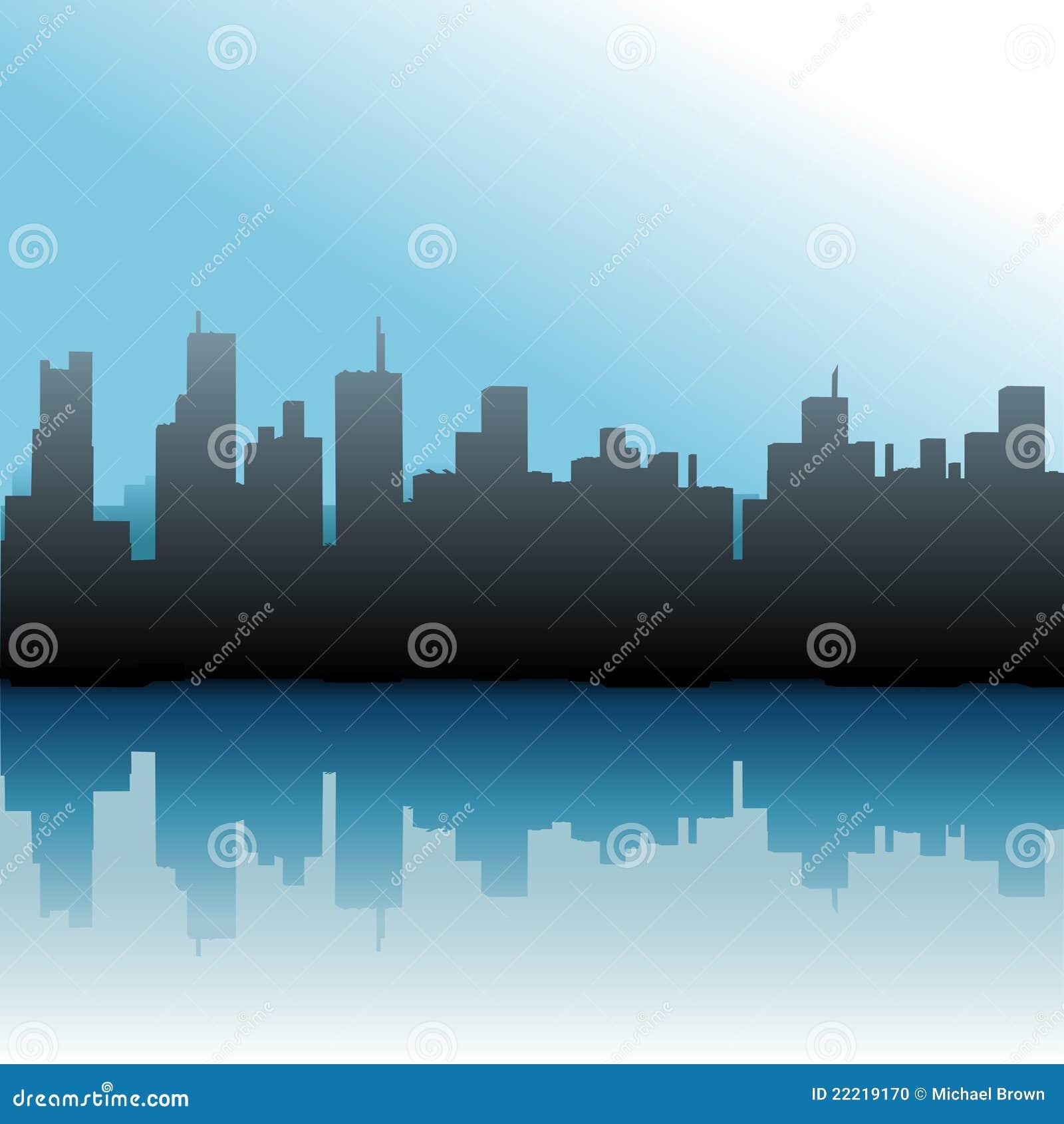 Ciel urbain de mer d horizon de constructions de ville