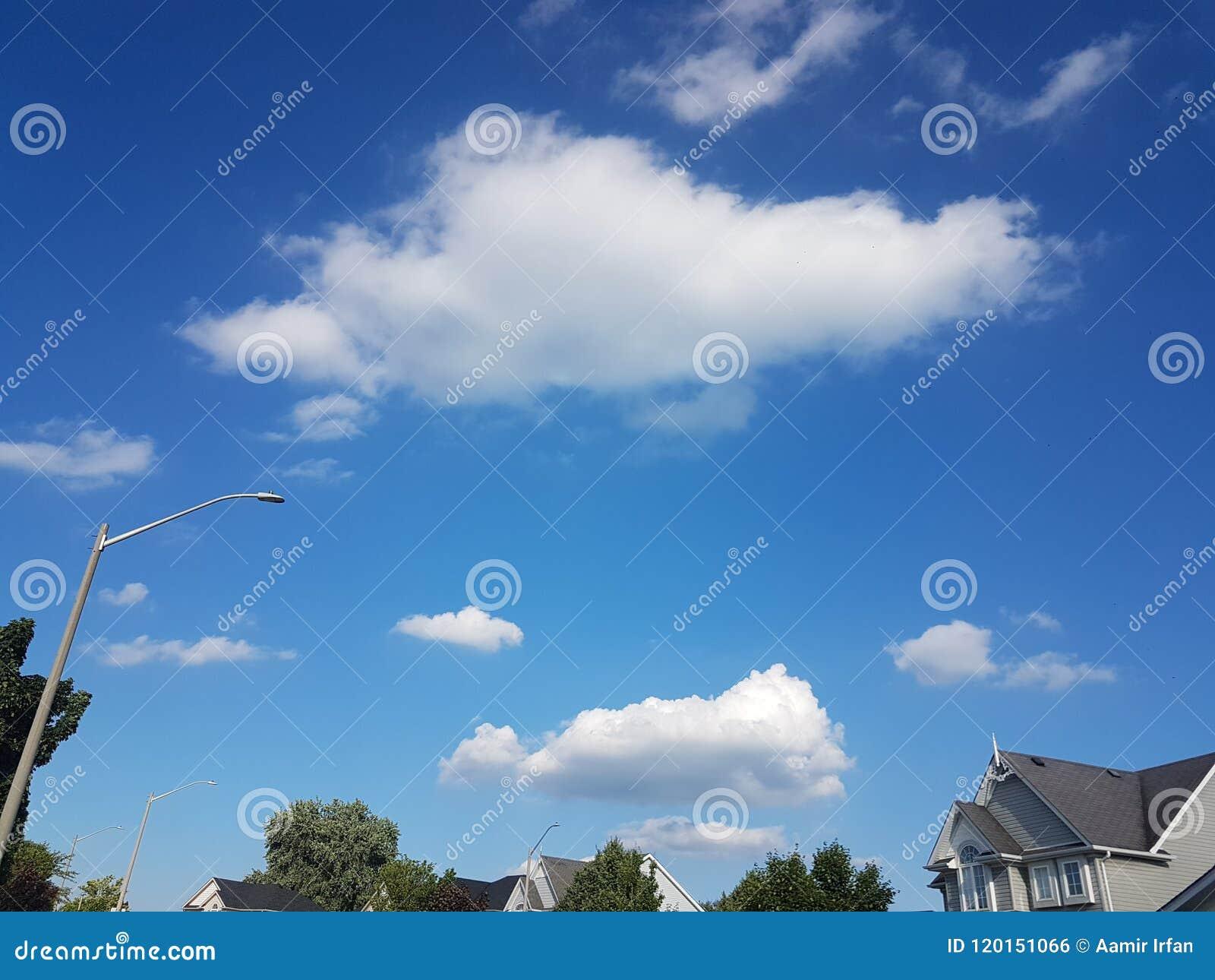 Cieli blu con cloudsof la stagione estiva