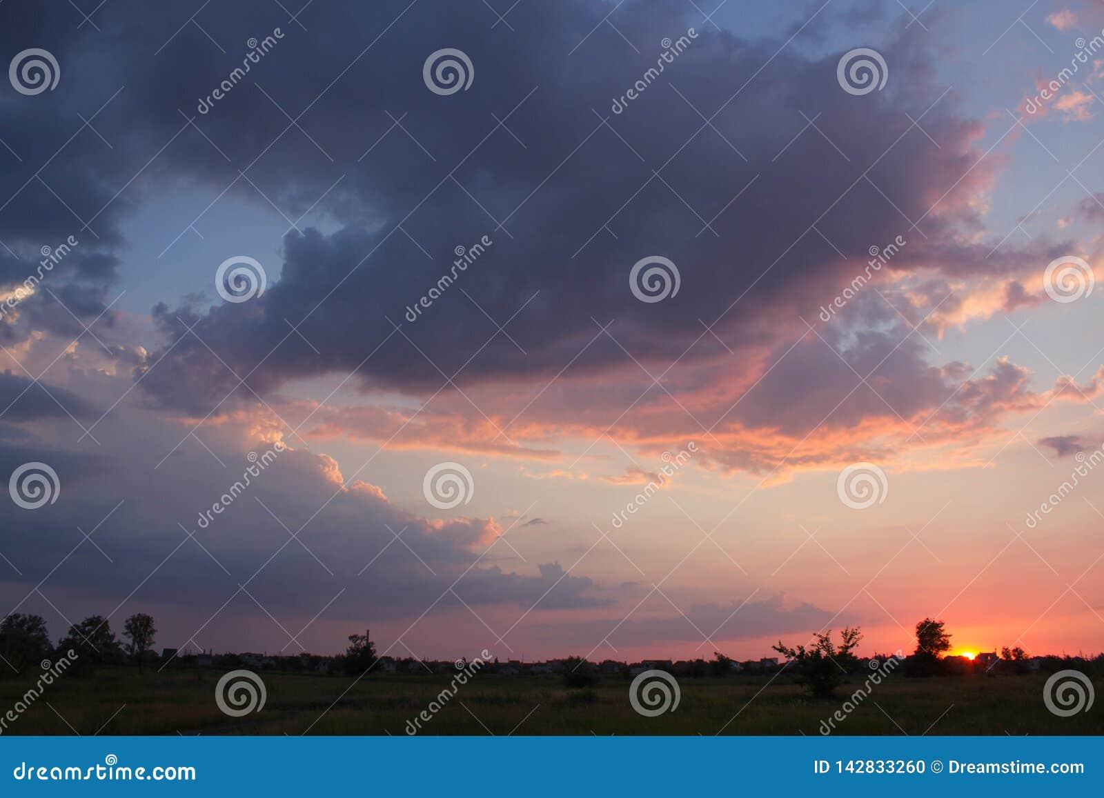Cielo, árboles, naranja, puesta del sol, sol