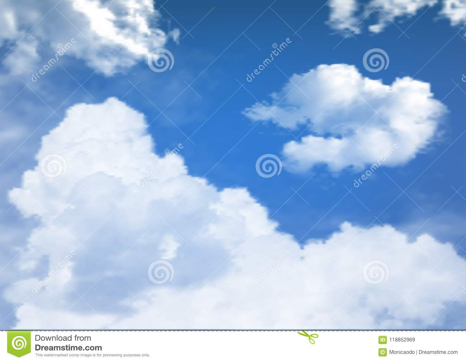 Cielo azul con vector de las nubes