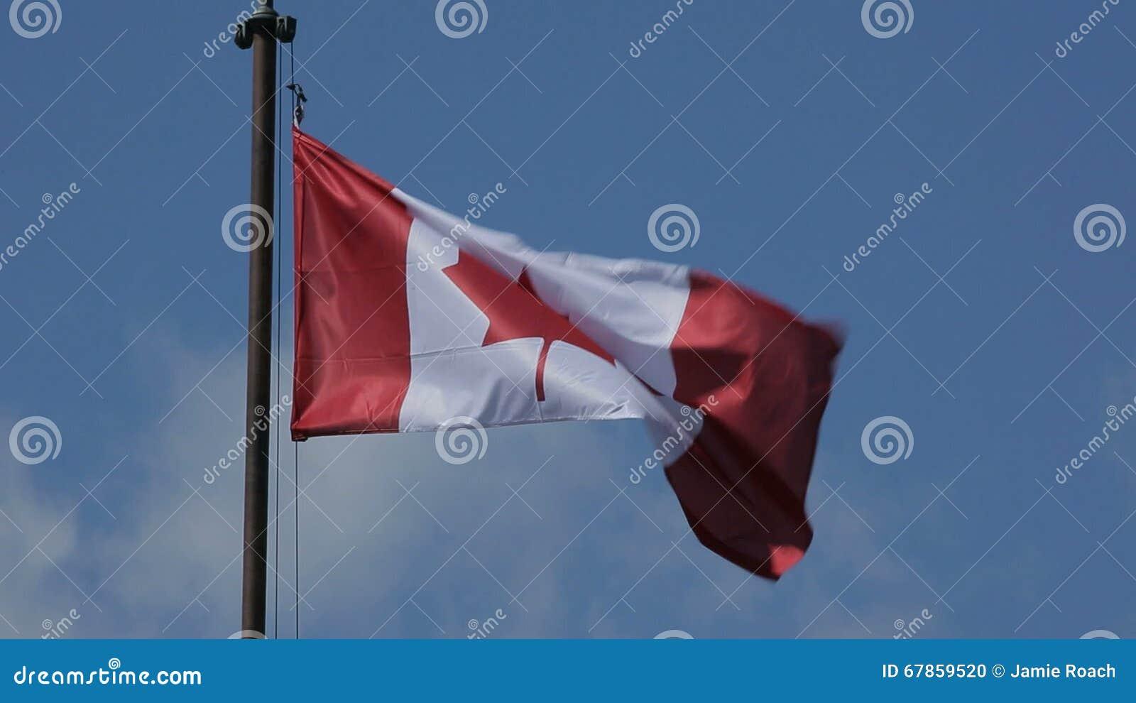 Cielo Azul Del Viento De La Bandera De Canadá Que Agita Metrajes ...