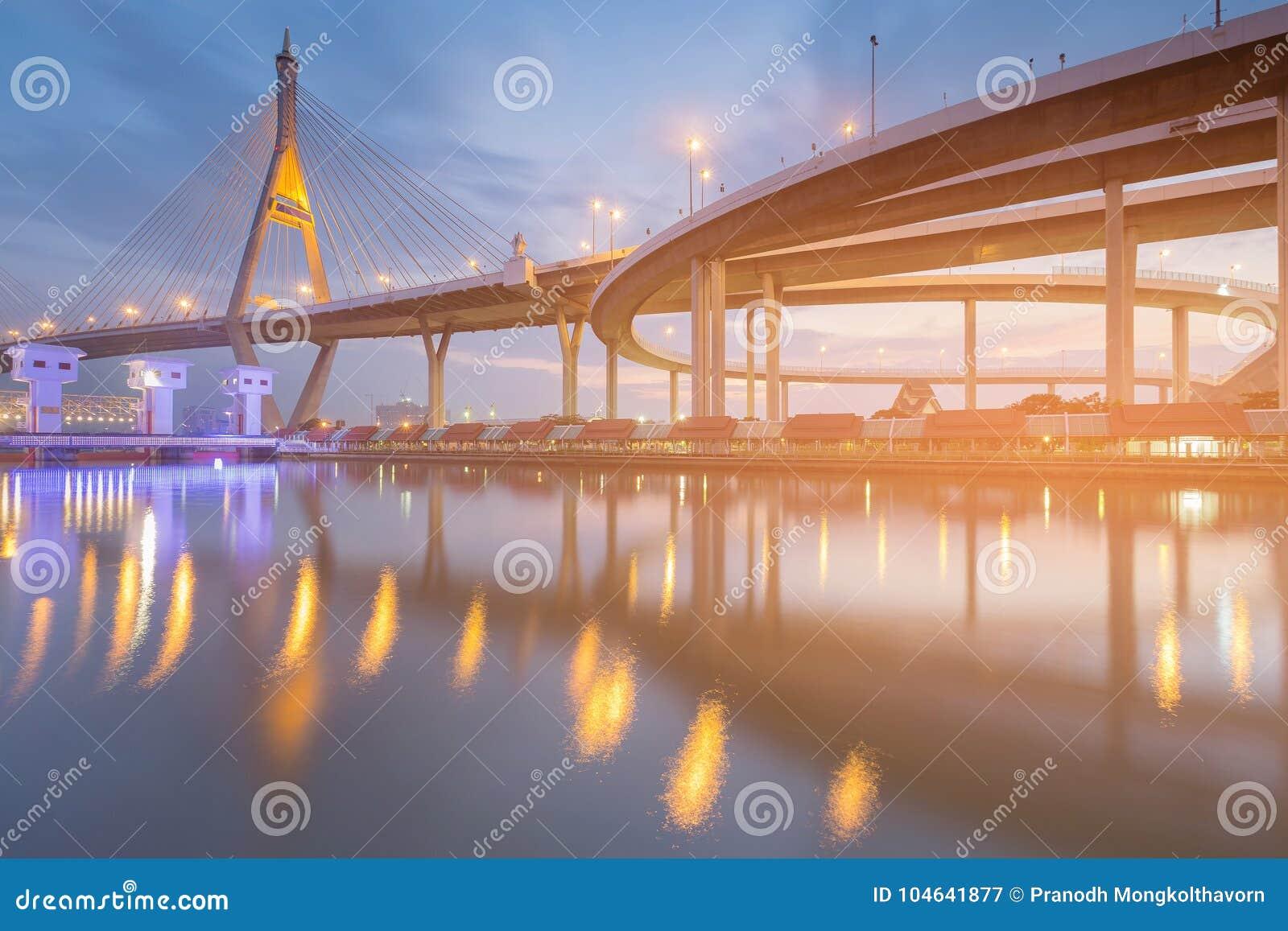 Cielo blu crepuscolare sopra la parte anteriore del fiume del ponte sospeso