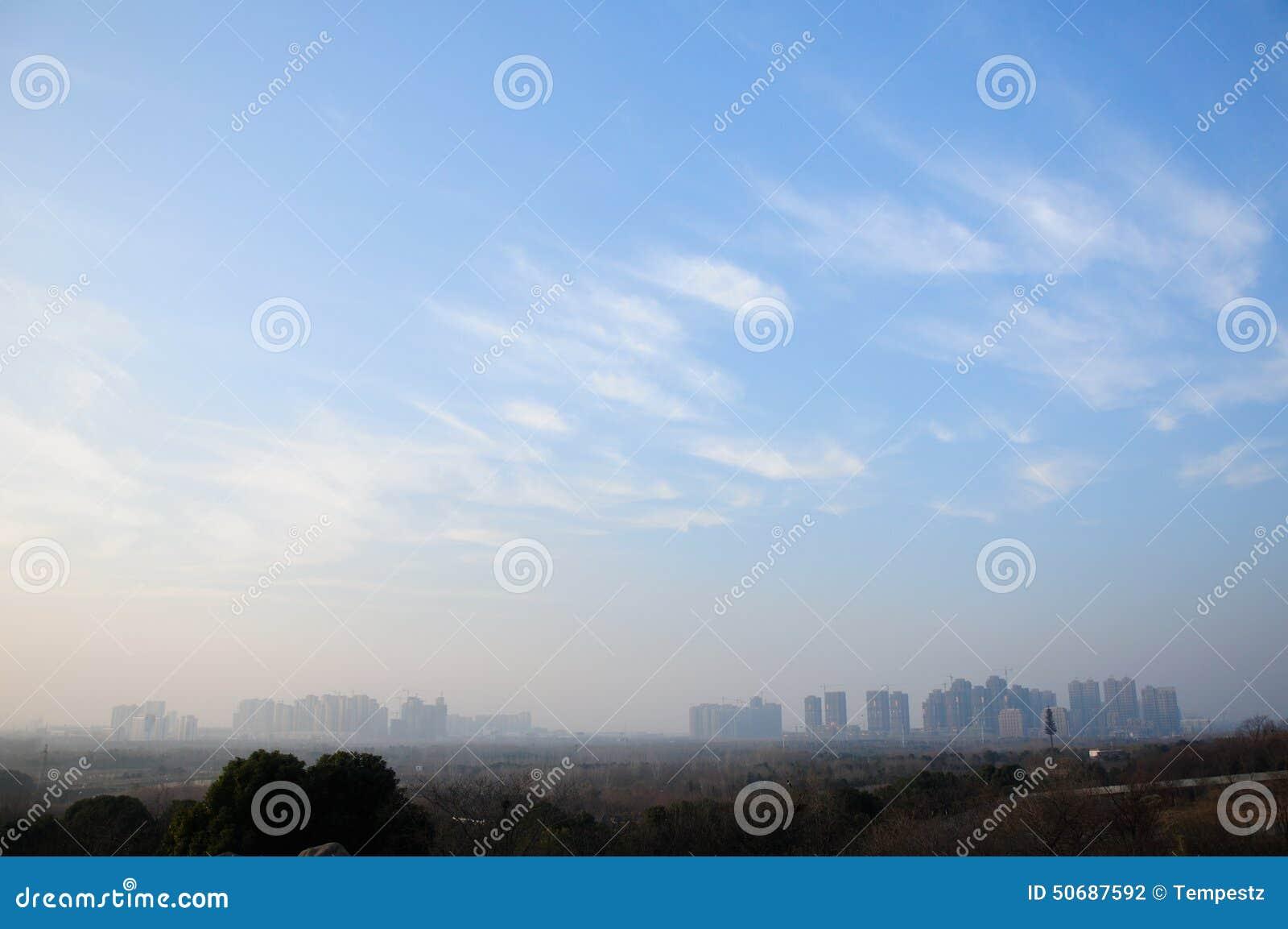 Cielo blu sopra Hefei Cina