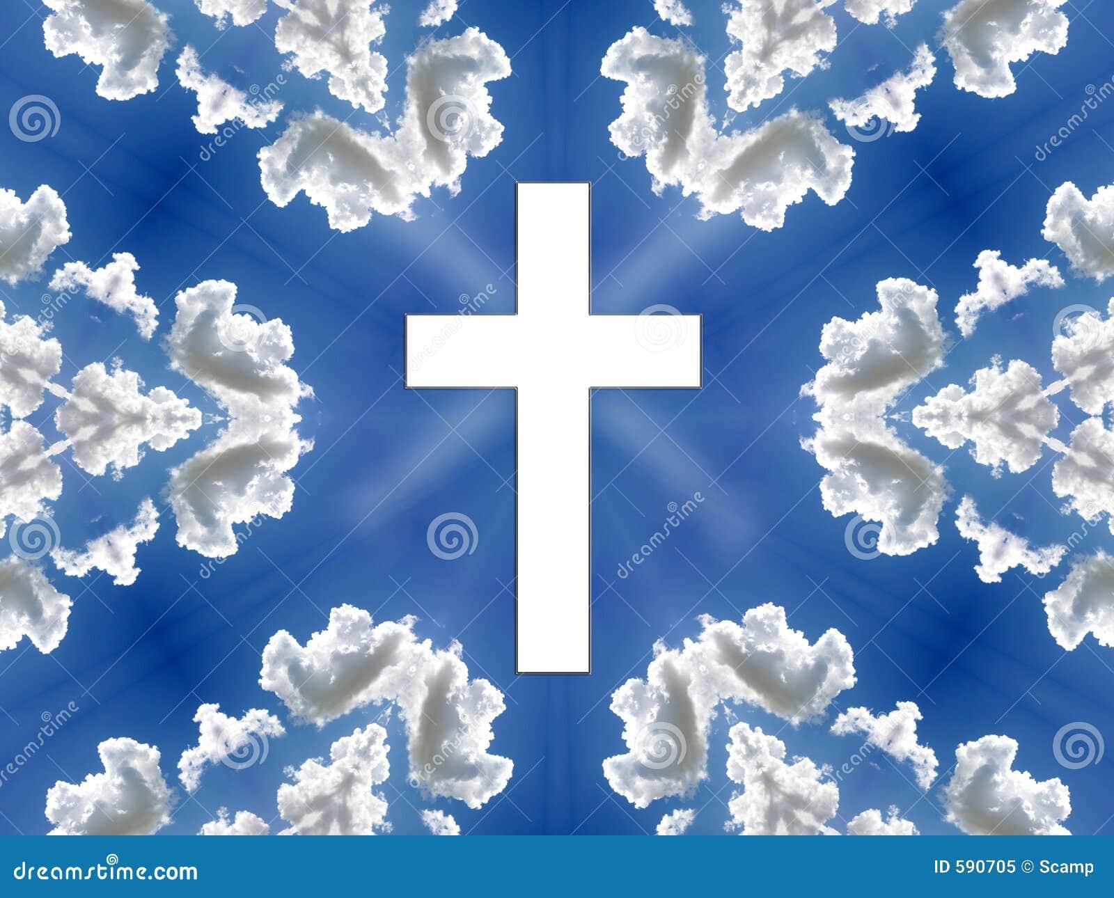 Cielo - cielo azul, nubes, cruz