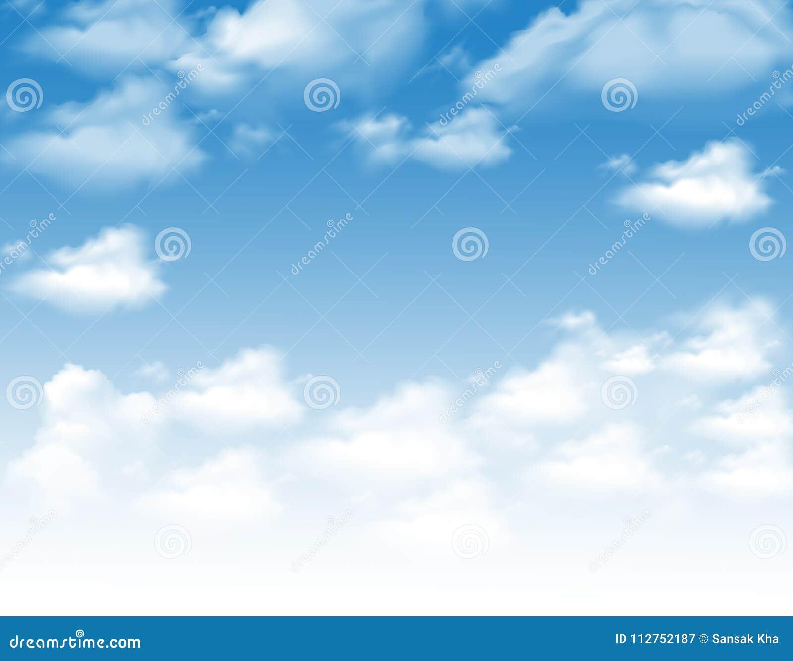 Cielo con las nubes, diseño del vector