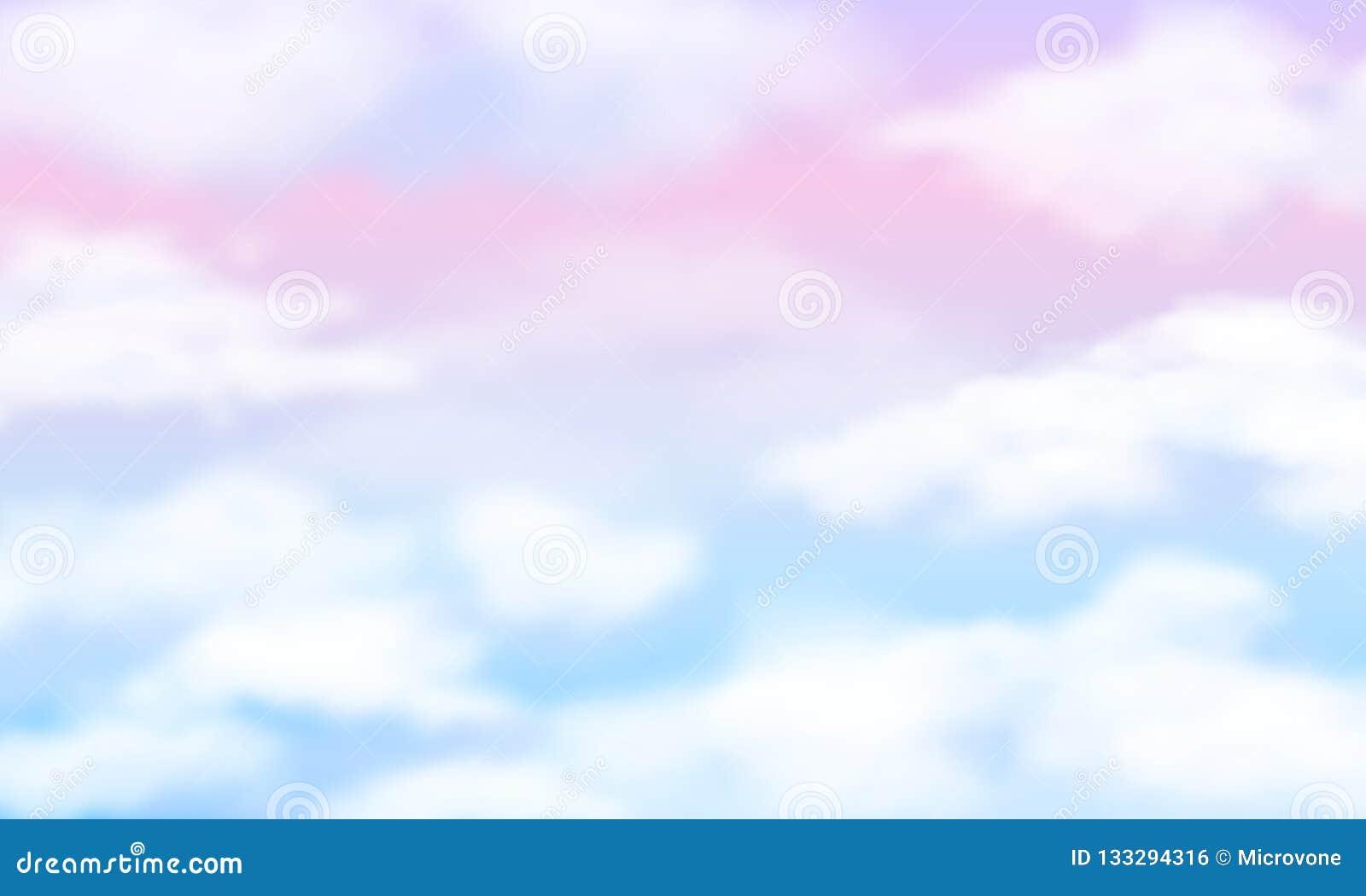 Cielo de la fantasía Nubes blancas en fondo mágico del arco iris Papel pintado nublado del vector del unicornio lindo de hadas