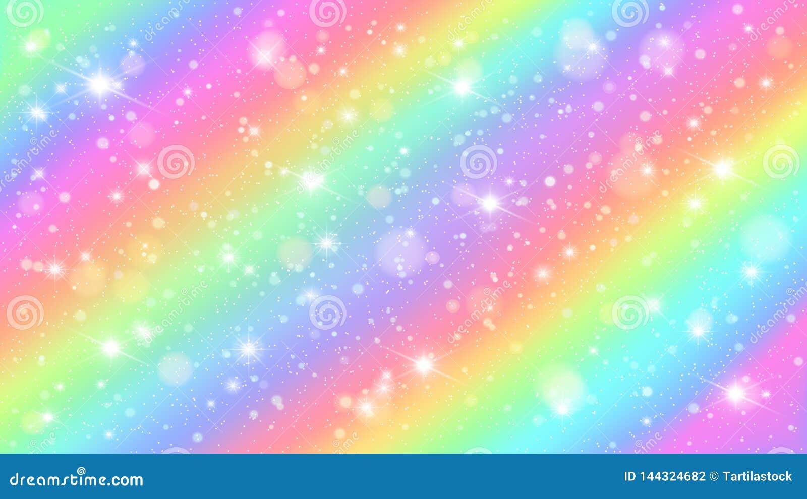 Cielo del arco iris de los brillos Fondo estrellado de hadas mágico brillante del vector de los cielos del color en colores paste