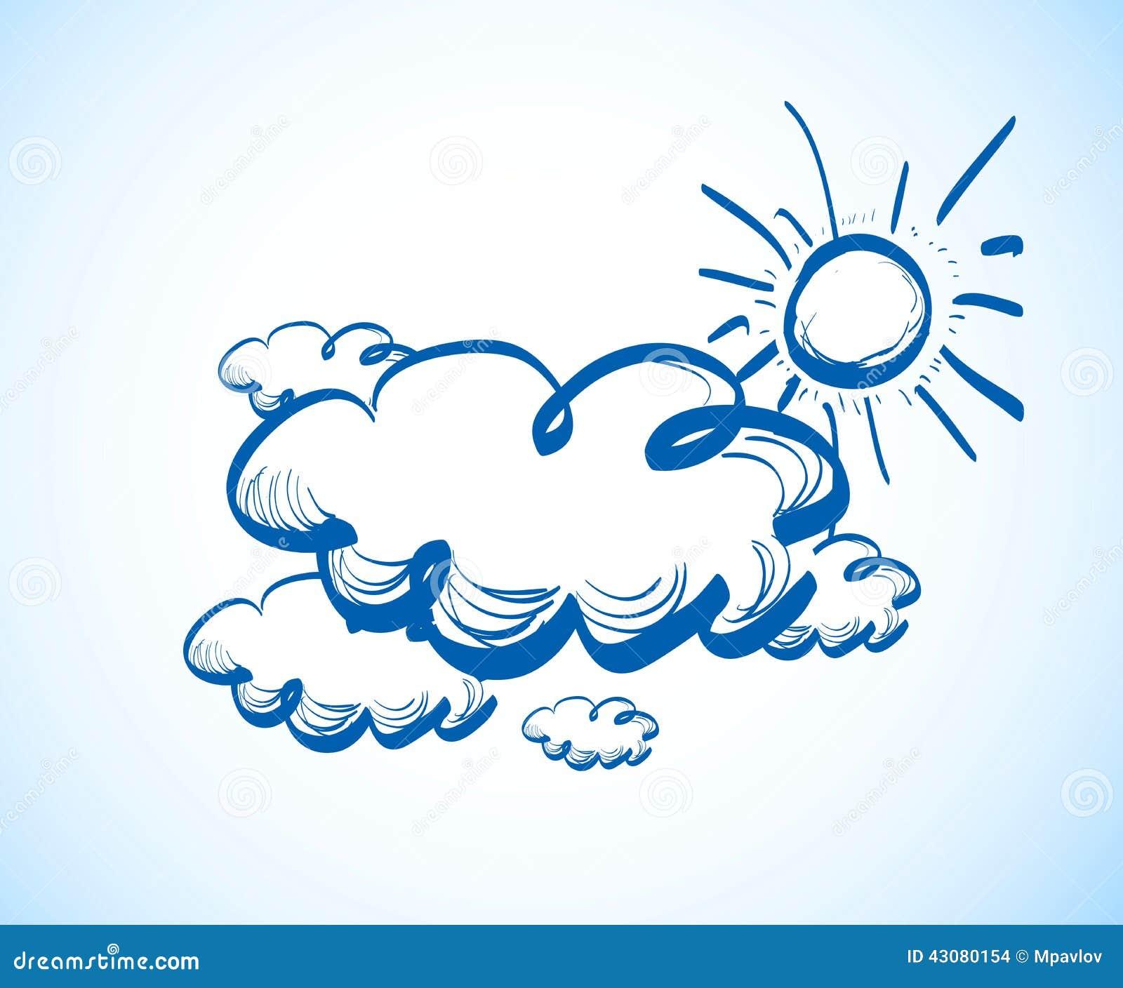 Cielo Del Dibujo De La Mano Con Las Nubes Ilustración Del Vector