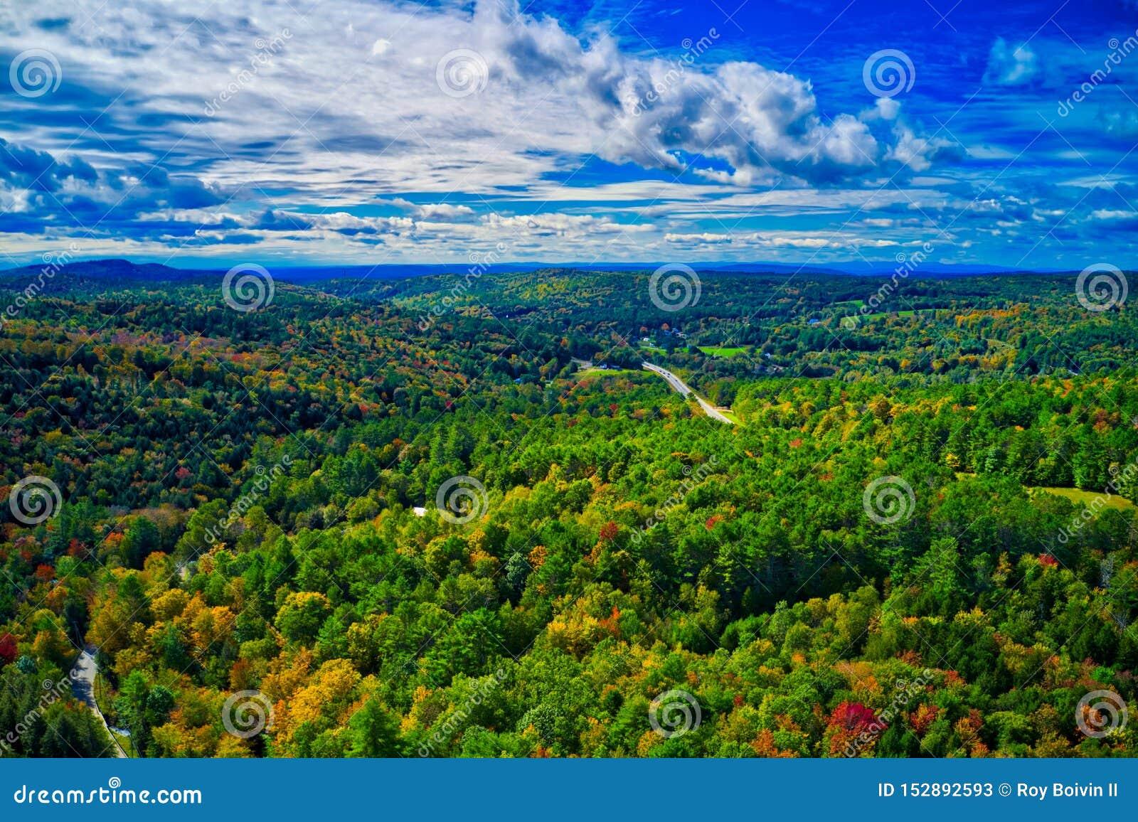 Cielo drammatico areale sopra il fogliame di caduta del New Hampshire